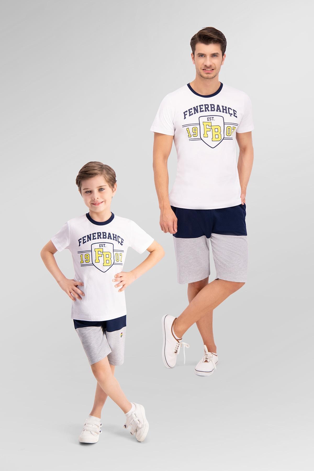 Fenerbahçe Lisanslı Beyaz Baba Oğul Bermuda Takım