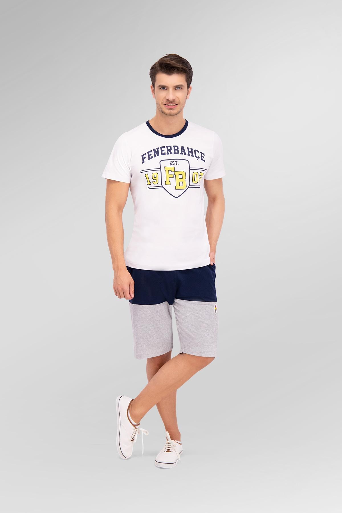 Fenerbahçe Lisanslı Beyaz Baba Oğul Bermuda Takım (1)