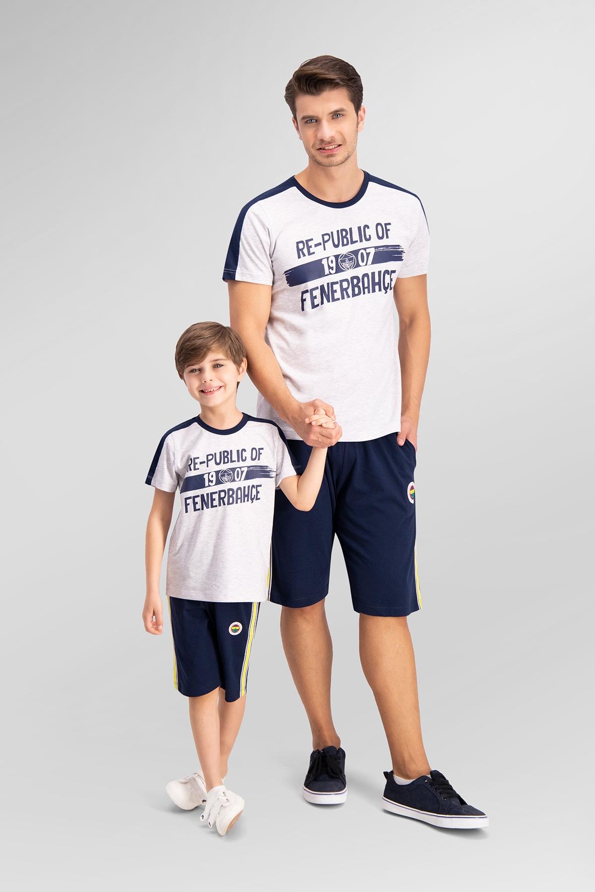 Fenerbahçe Lisanslı Açık Gri Baba Oğul Bermuda Takım