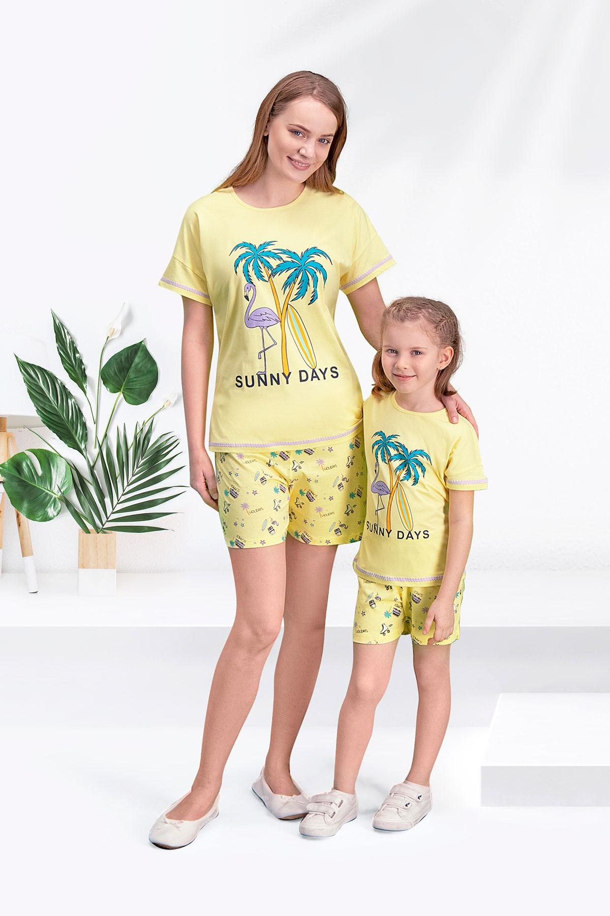 Arnetta Sunny Days Sarı Anne Kız Şort Takım