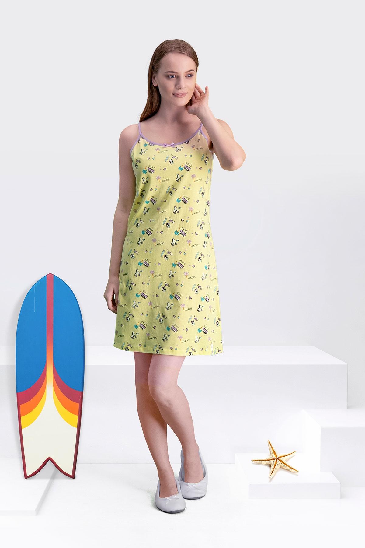 Arnetta Skate Sarı Anne Kız Gecelik (1)