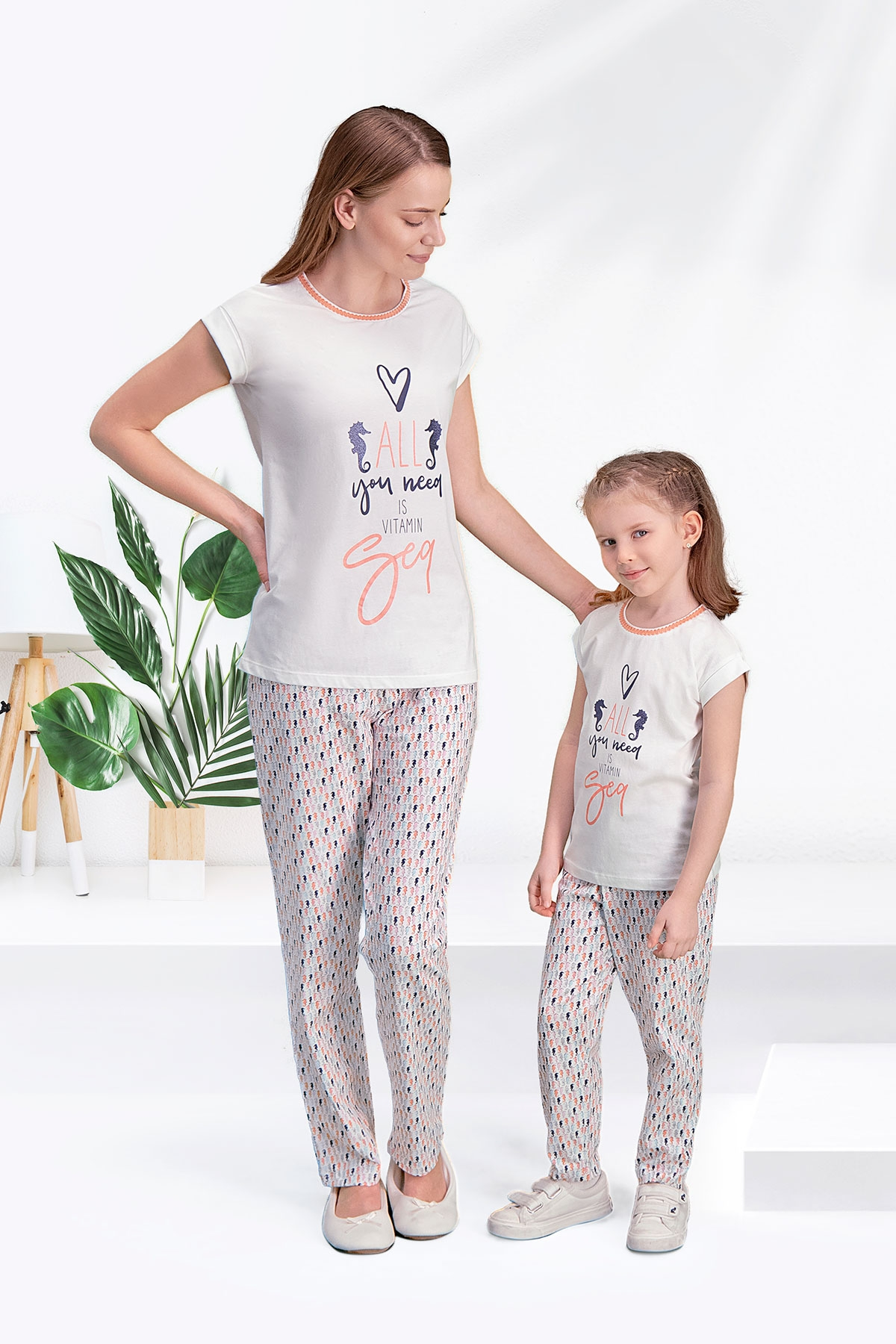 Arnetta Seahorse Krem Anne Kız Pijama Takımı