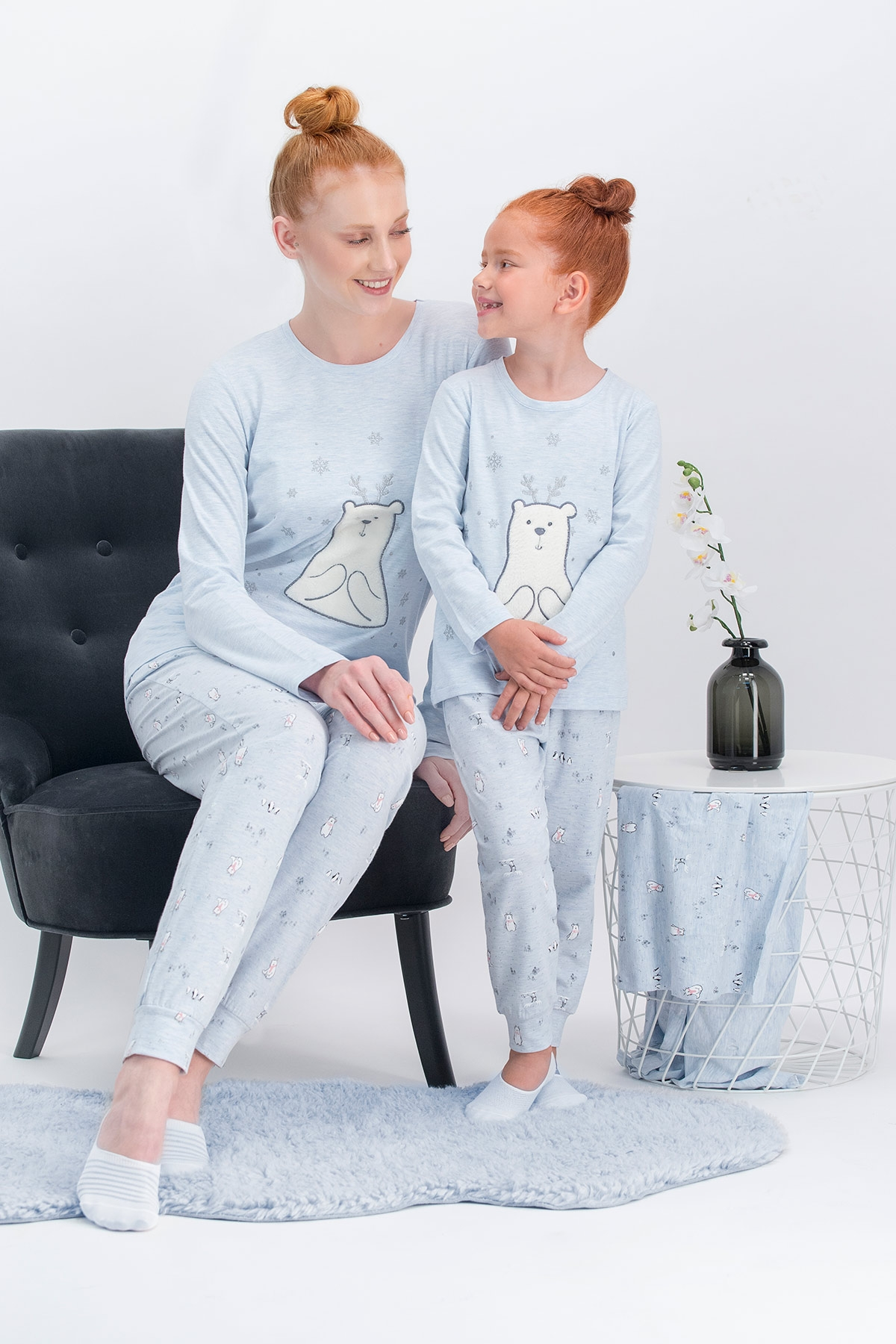 Arnetta Pure Bear Mavimelanj Anne Kız Pijama Takımı
