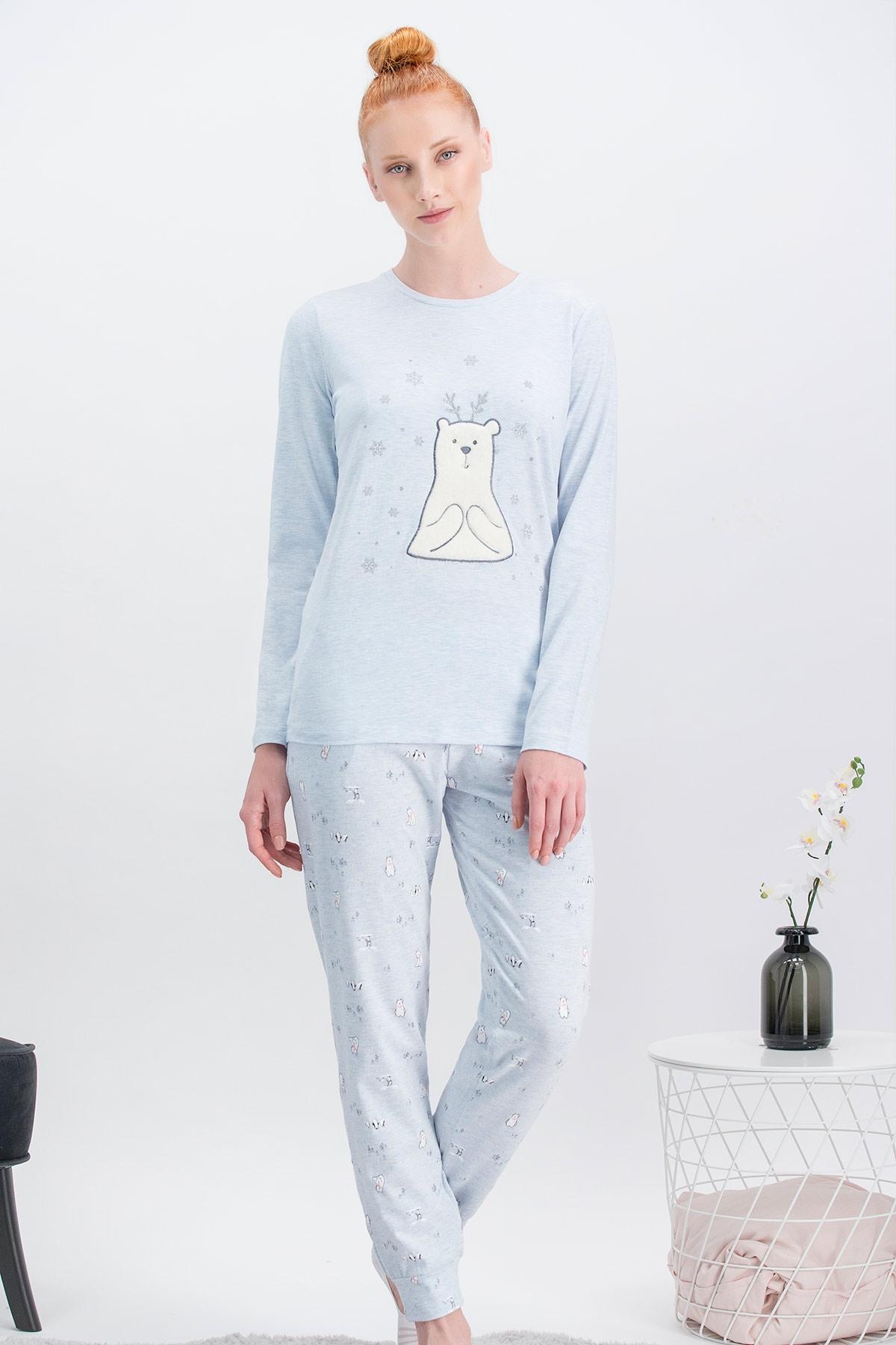 Arnetta Pure Bear Mavimelanj Anne Kız Pijama Takımı (1)