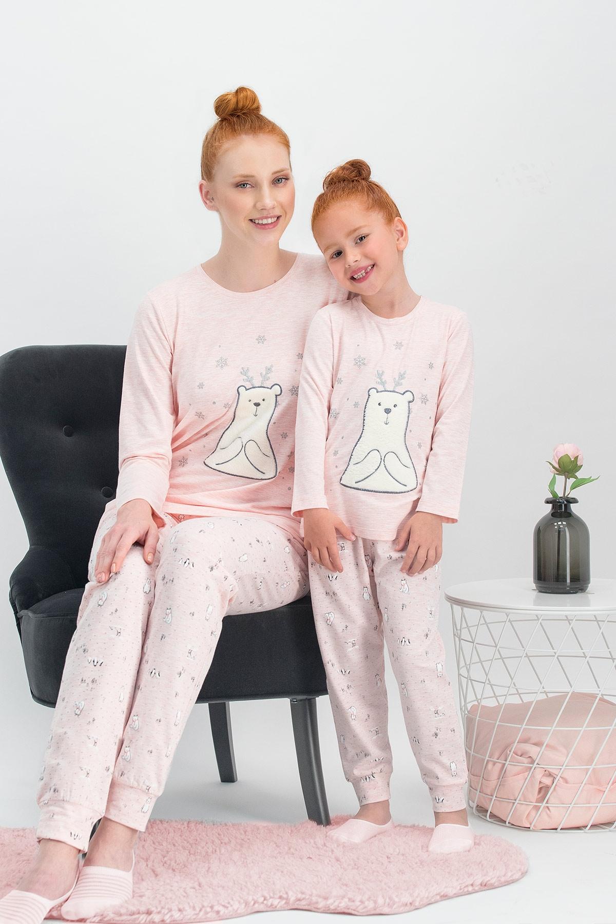Arnetta Pure Bear Pembemelanj Anne Kız Pijama Takımı