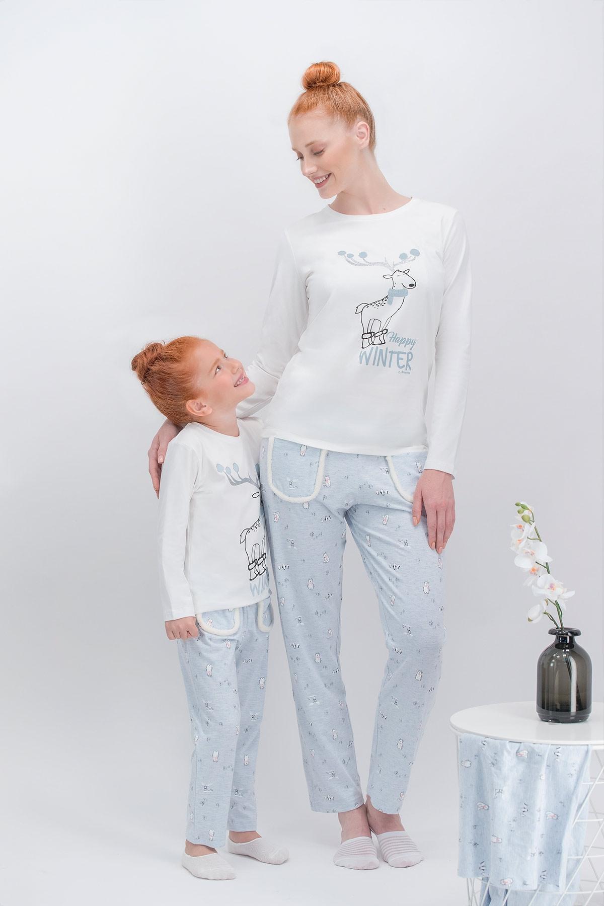Arnetta Happy Winter Krem Anne Kız Pijama Takımı