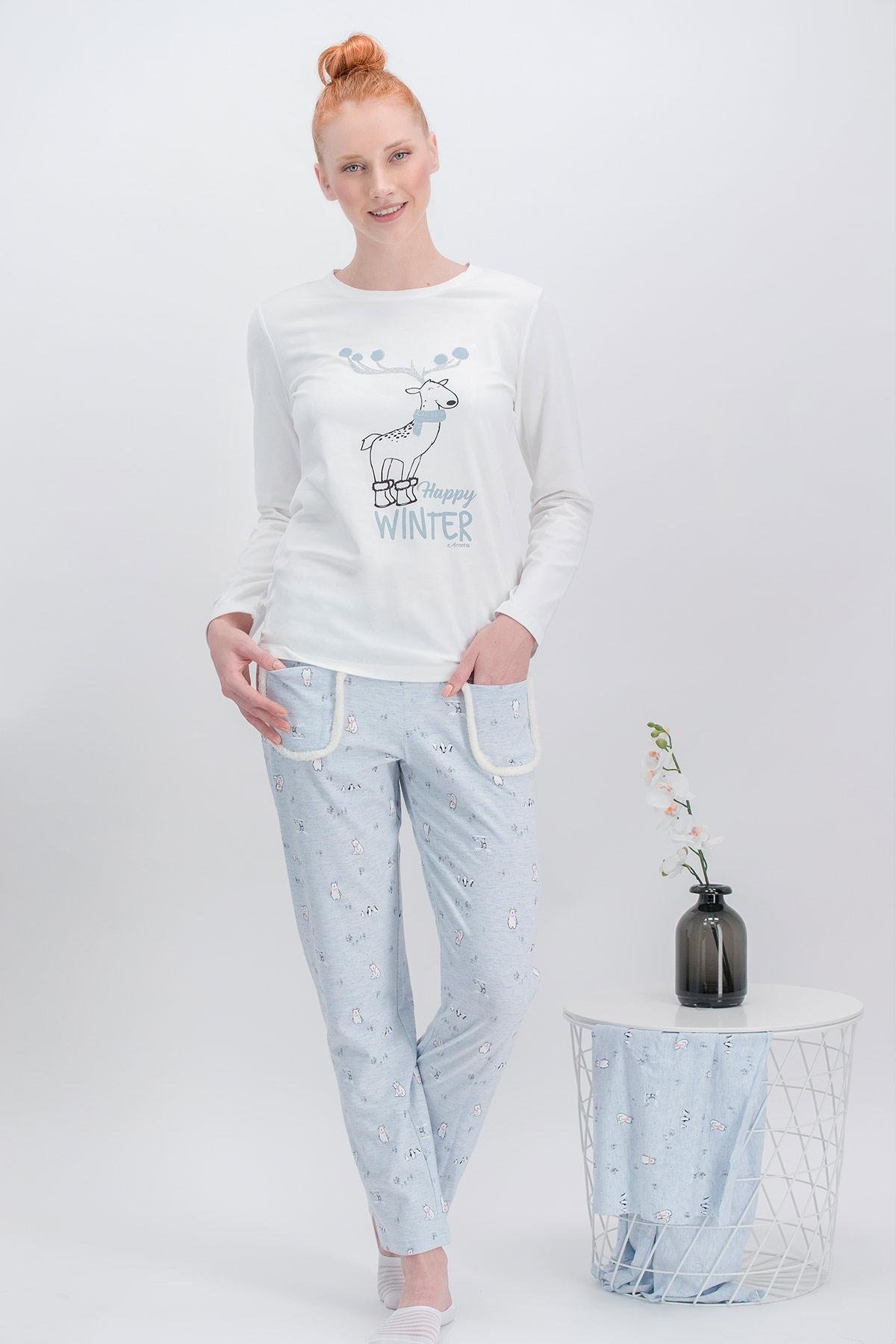 Arnetta Happy Winter Krem Anne Kız Pijama Takımı (1)