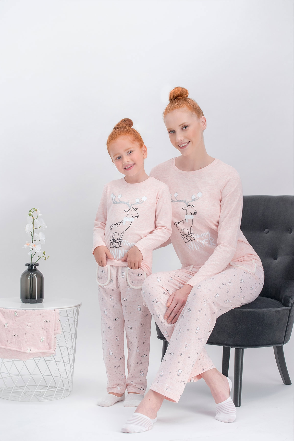 Arnetta Happy Winter Pembemelanj Anne Kız Pijama Takımı