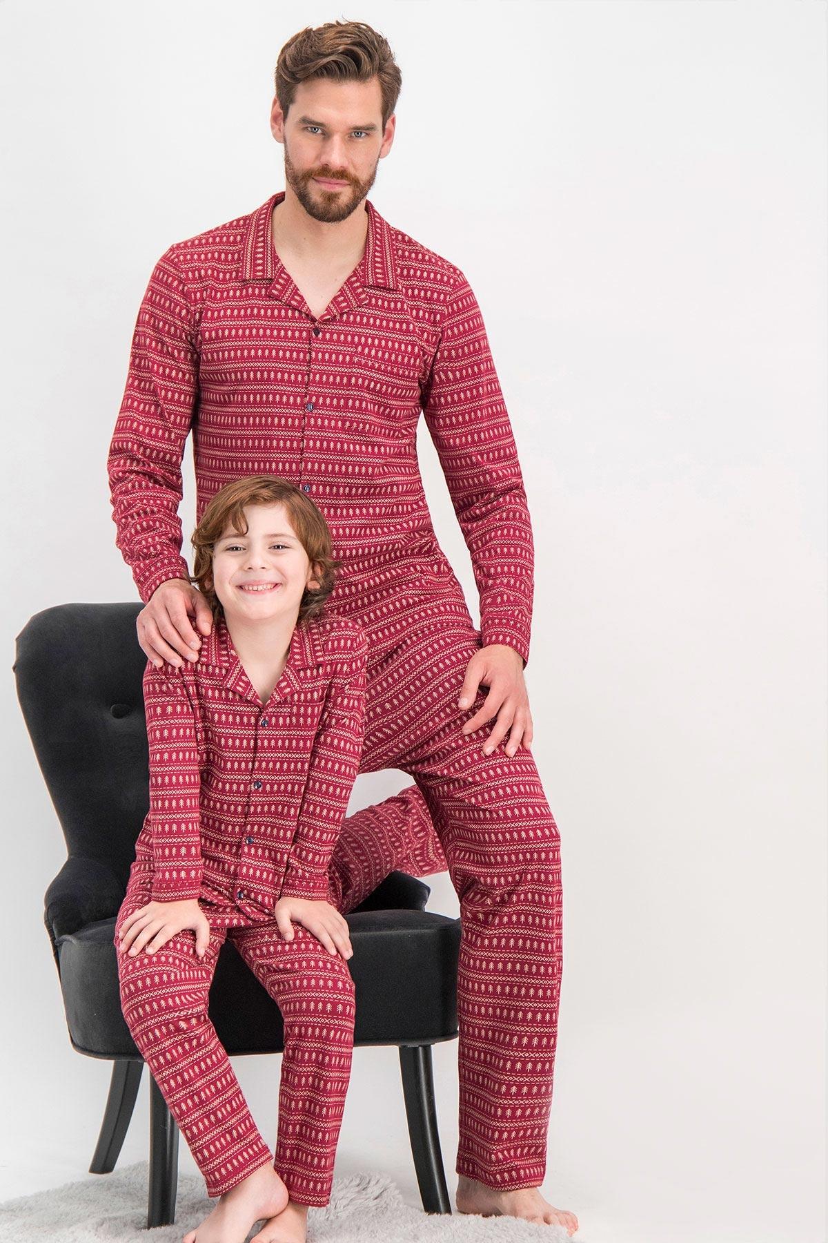 Arnetta Shine Bordo Baba Oğul Gömlek Pijama (1)