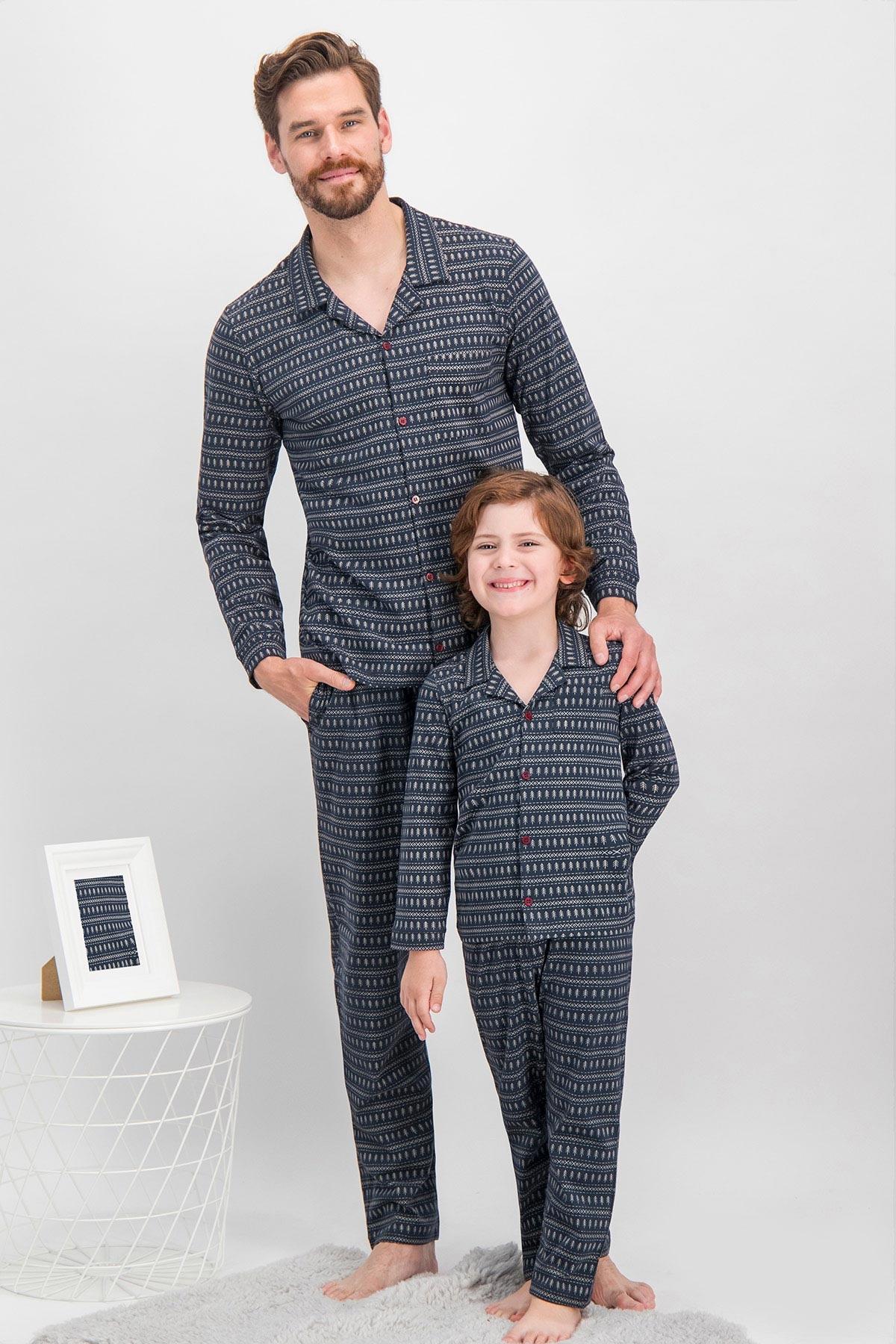 Arnetta Shine Lacivert Baba Oğul Gömlek Pijama (1)