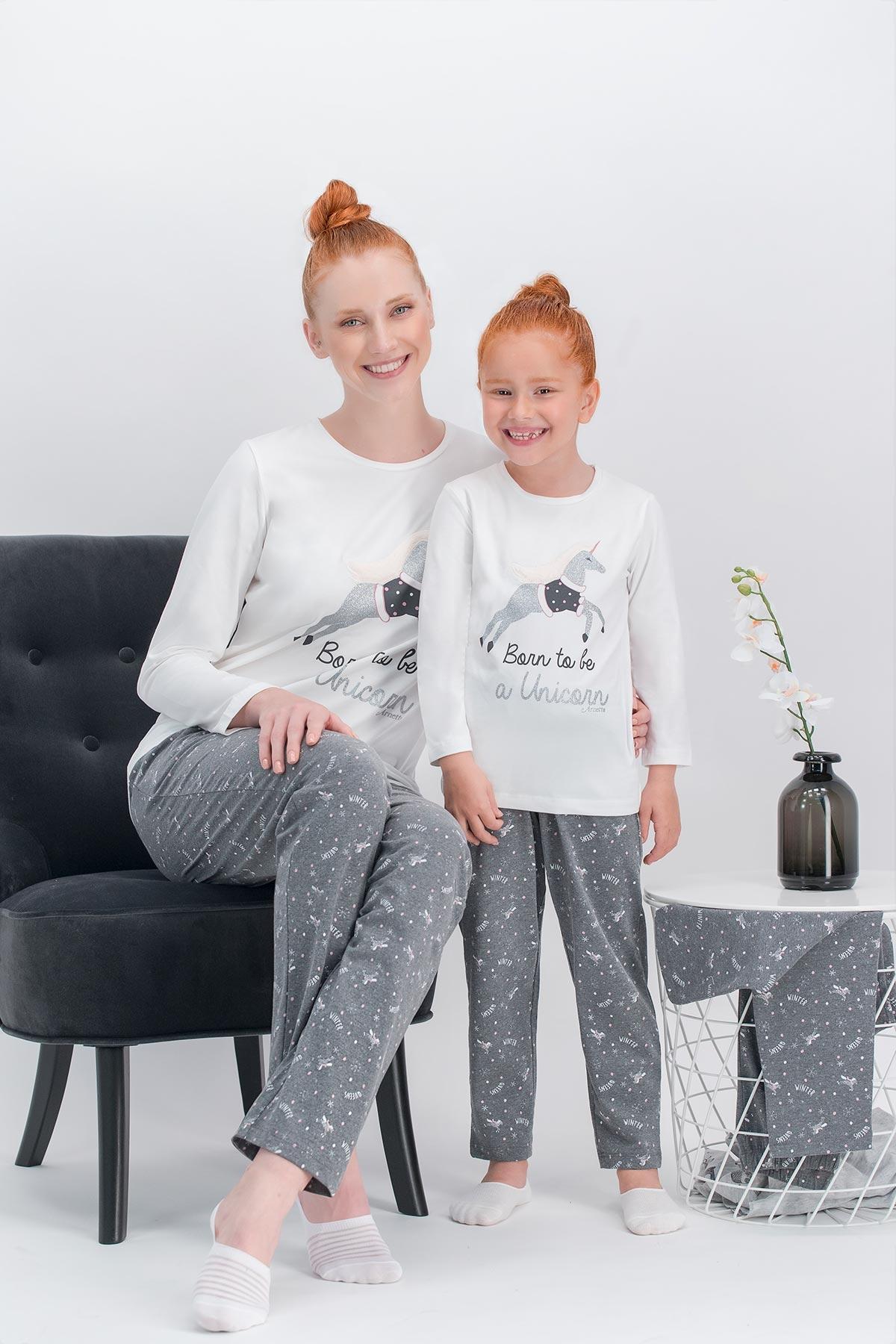 Arnetta Unicorn Fly Krem Kadın Pijama Takımı