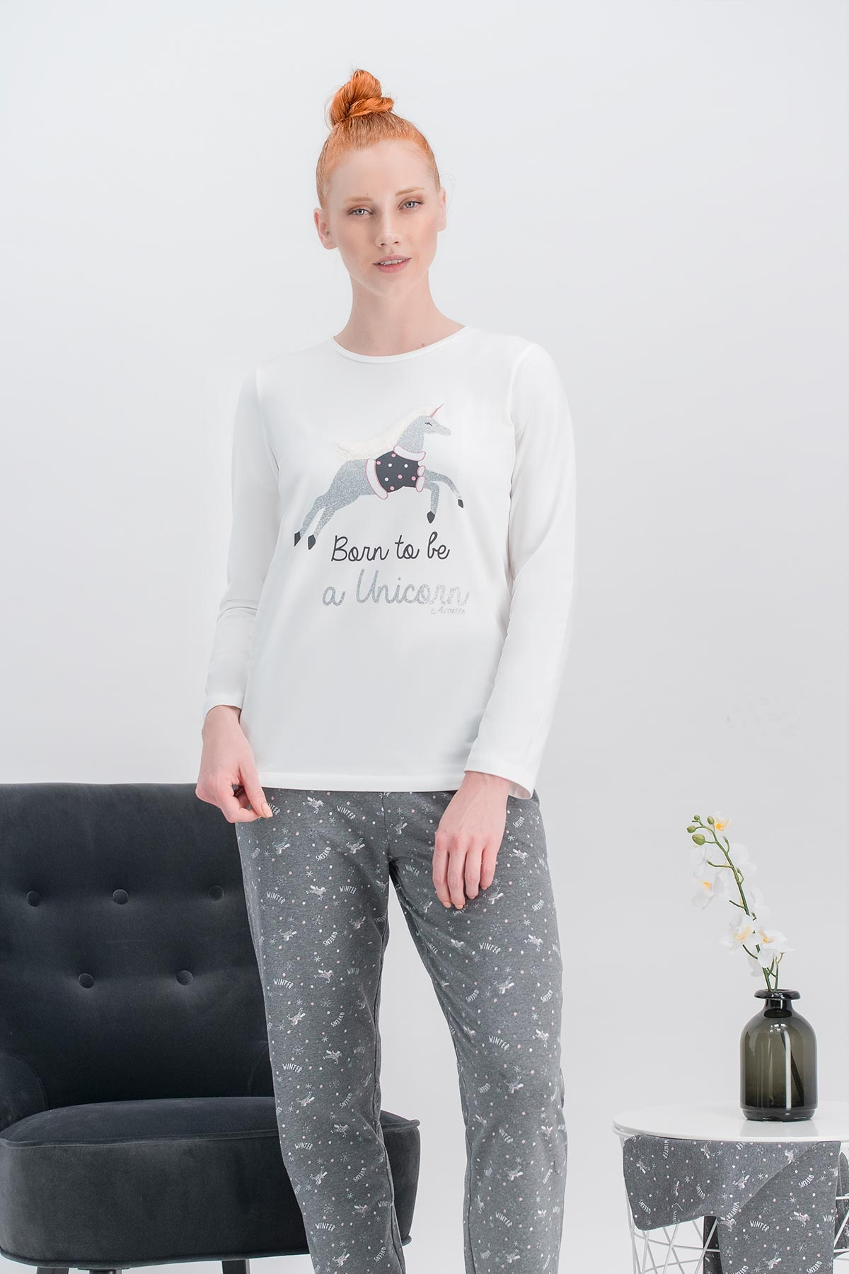 Arnetta Unicorn Fly Krem Kadın Pijama Takımı (1)