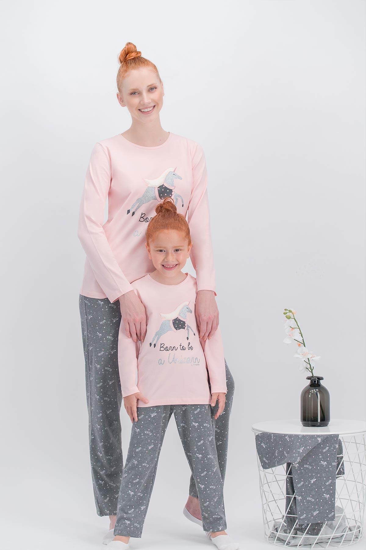 Arnetta Unicorn Fly İnci Pembe Anne Kız Pijama Takımı