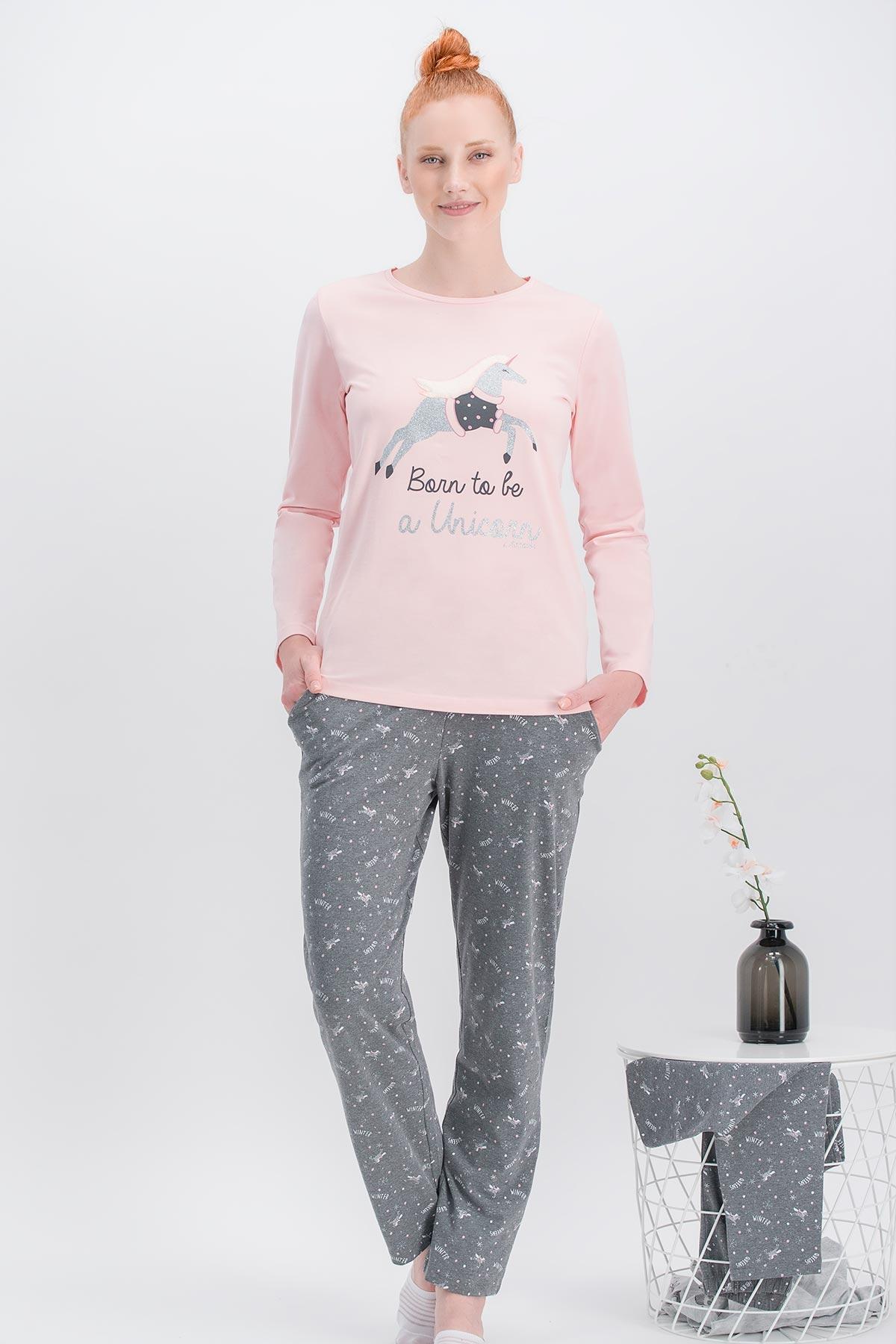 Arnetta Unicorn Fly İnci Pembe Anne Kız Pijama Takımı (1)