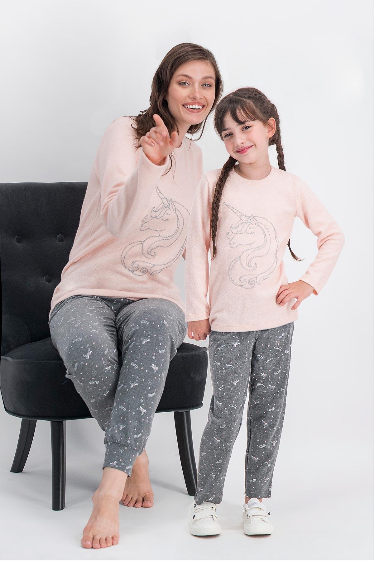 Arnetta Unicorn Fly Only Pembemelanj Anne Kız Pijama Takımı