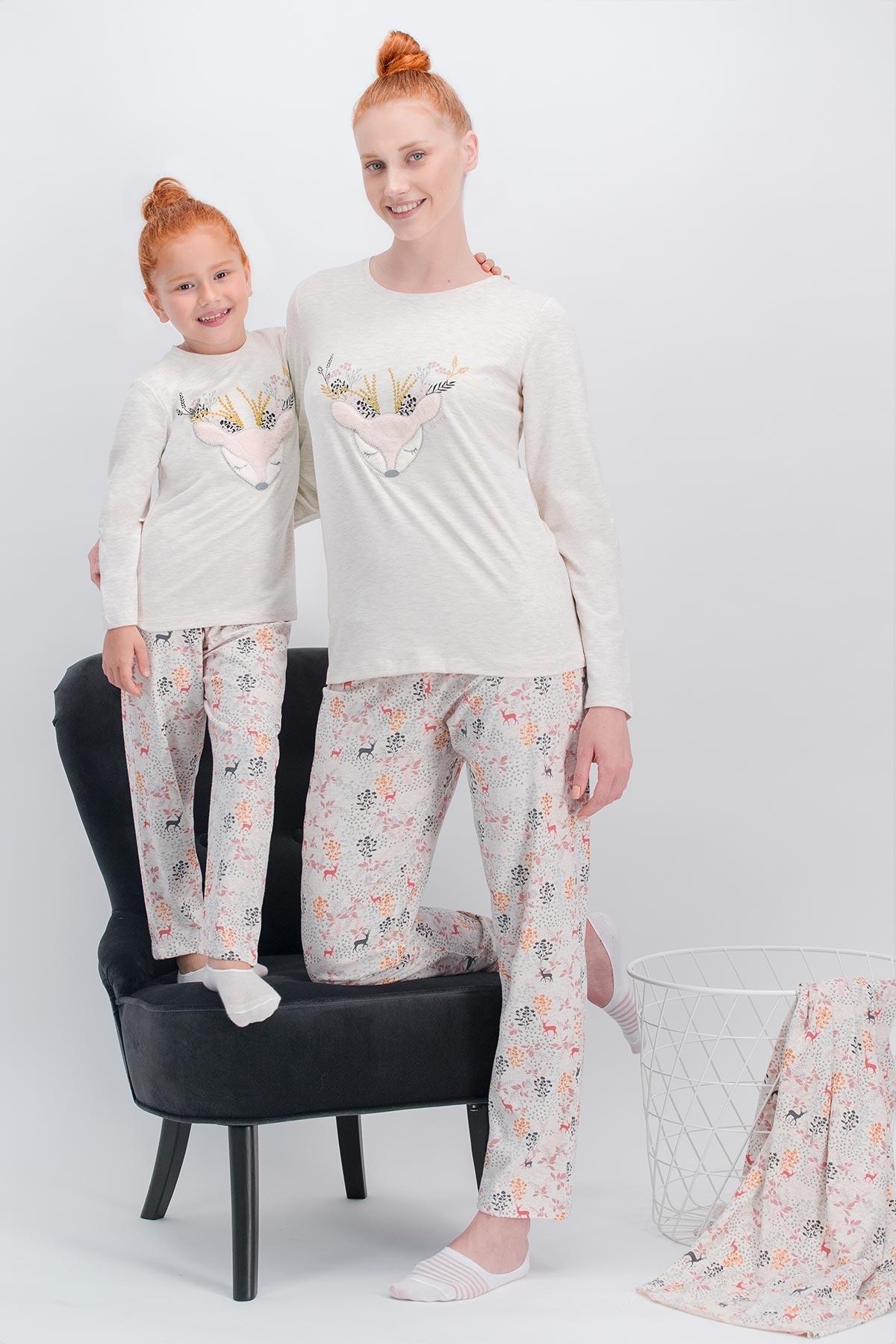 Arnetta Flower Deer Kremmelanj Anne Kız Pijama Takımı
