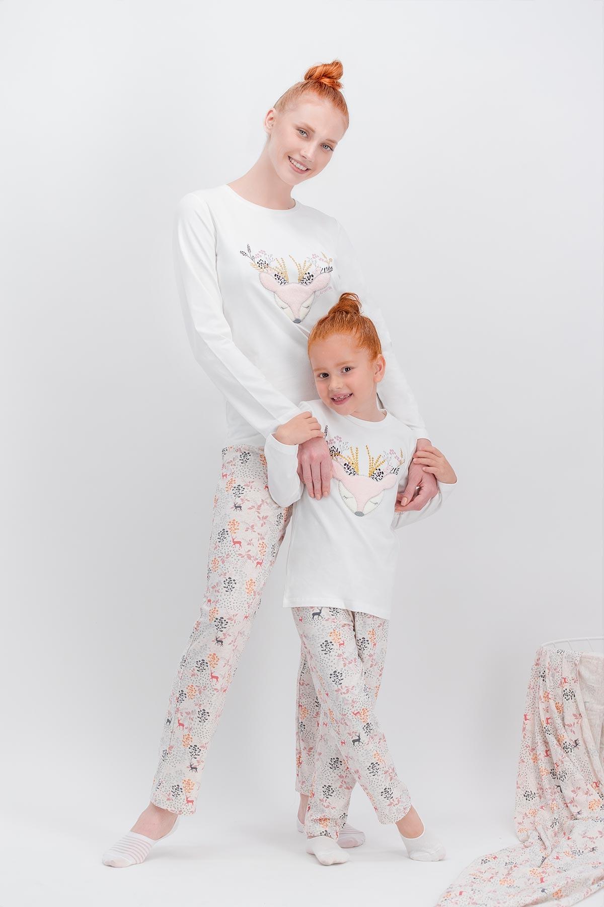 Arnetta Flower Deer Krem Kadın Pijama Takımı