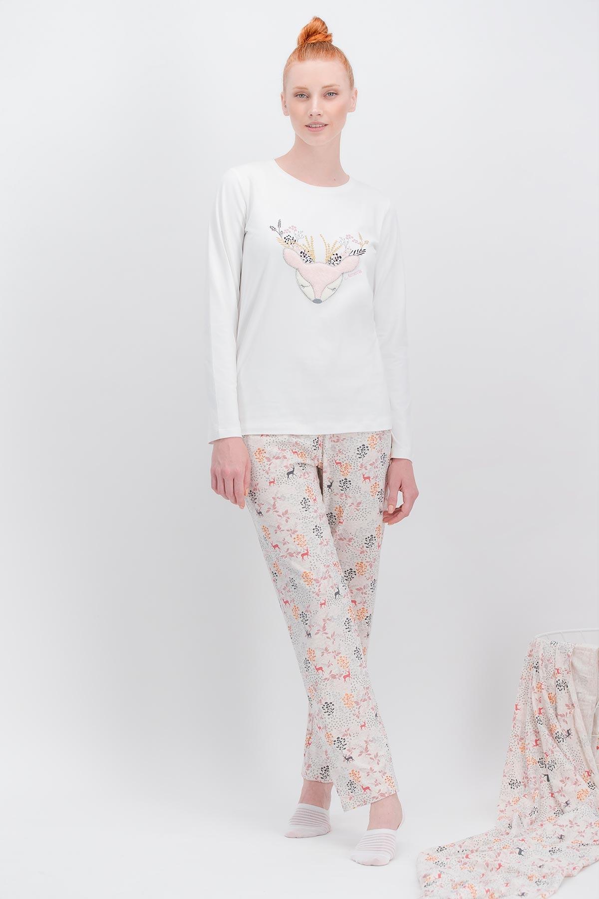 Arnetta Flower Deer Krem Kadın Pijama Takımı (1)