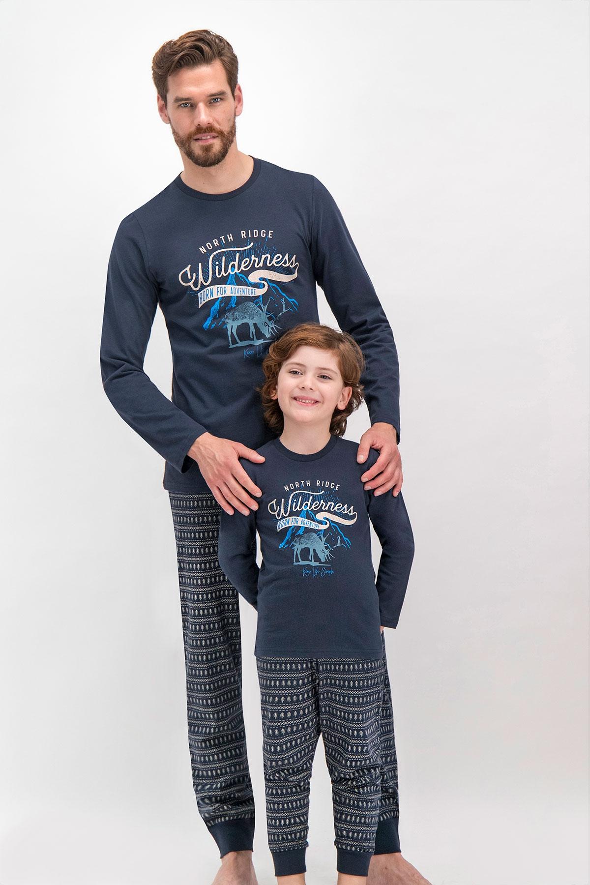 Arnetta Shine Lacivert Baba Oğul Pijama Takımı