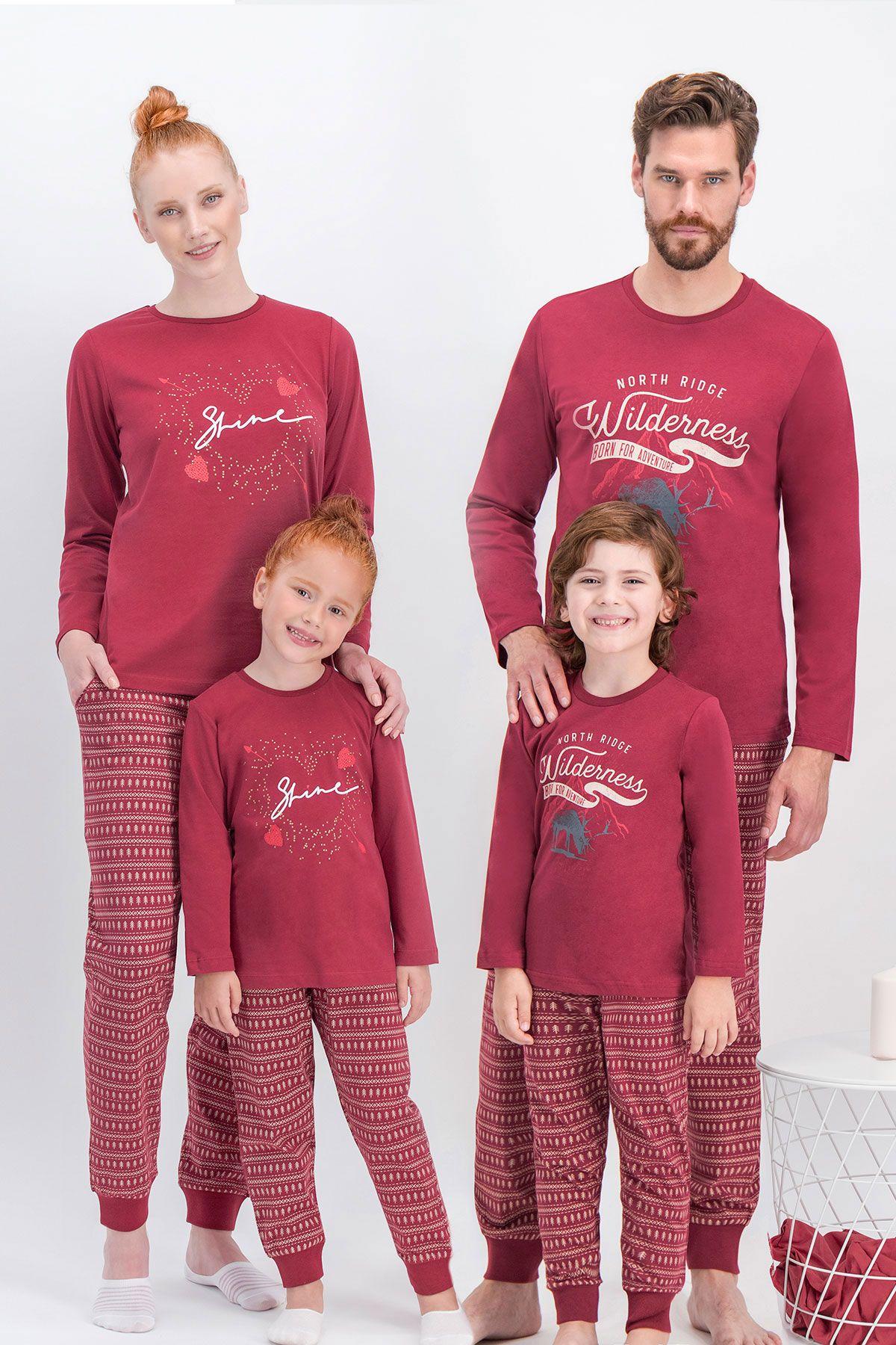 Arnetta Shine Bordo Baba Oğul Pijama Takımı