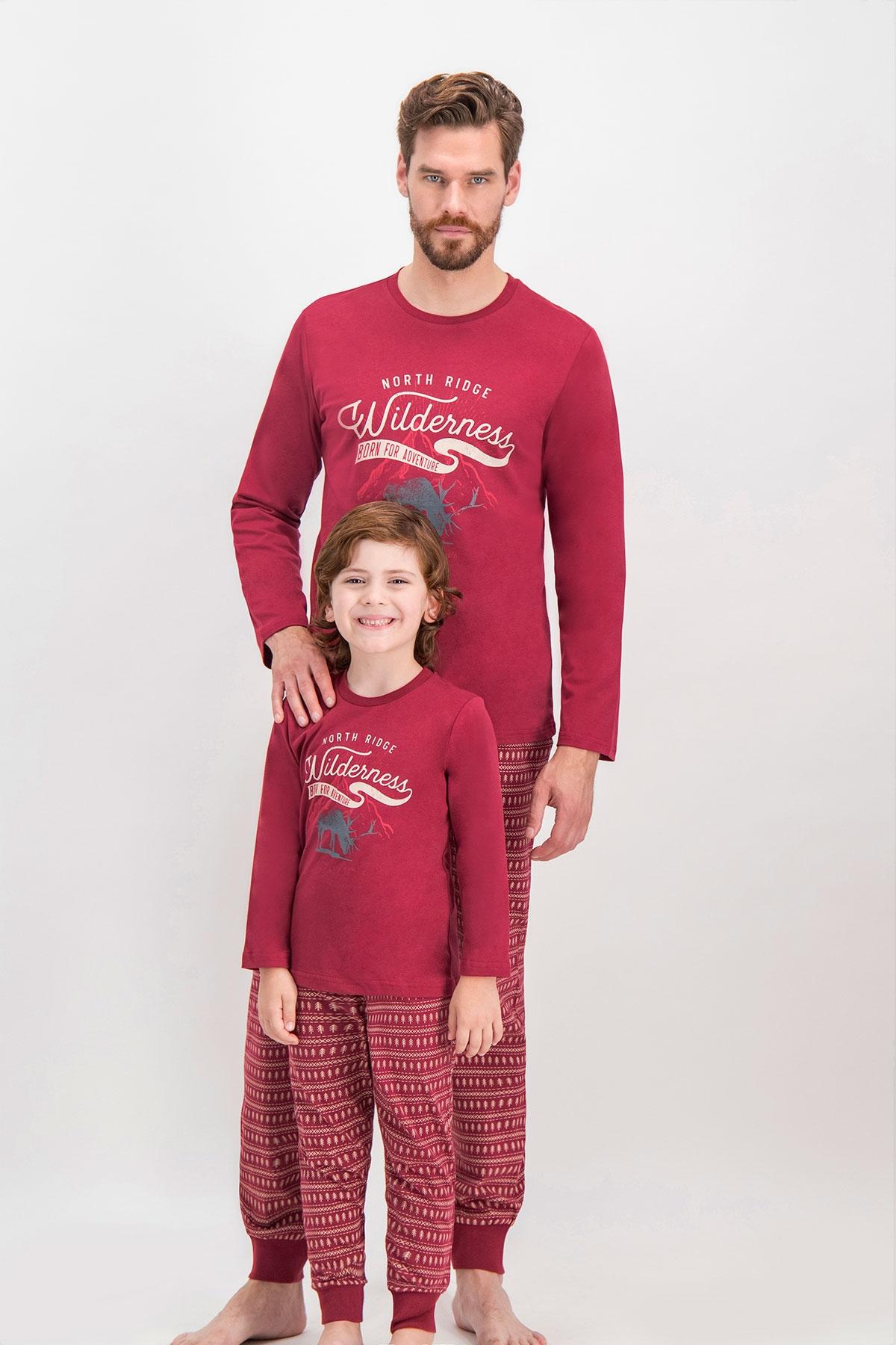 Arnetta Shine Bordo Baba Oğul Pijama Takımı (1)
