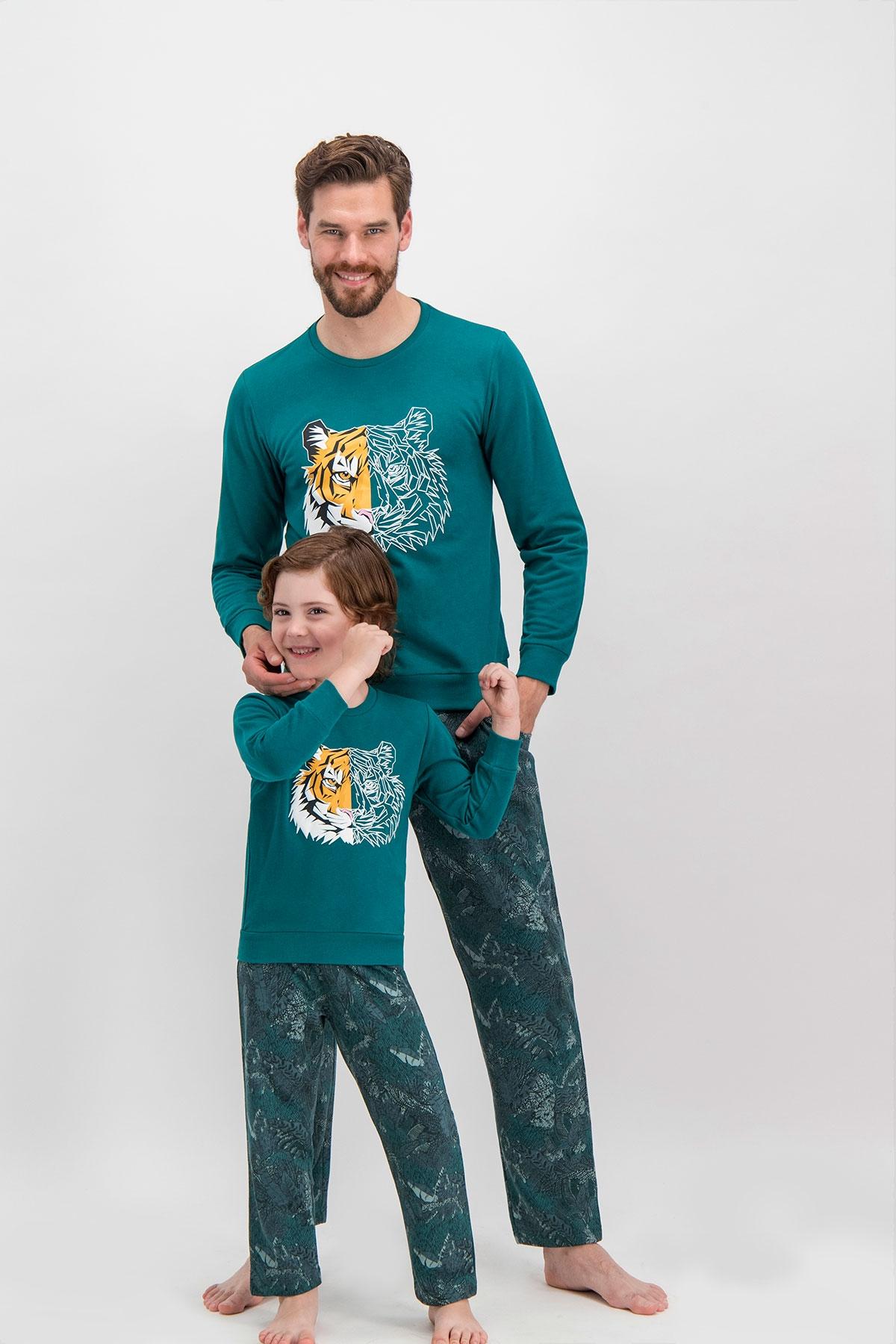 Arnetta Tiger Face Koyu Yeşil Baba Oğul Eşofman Takımı