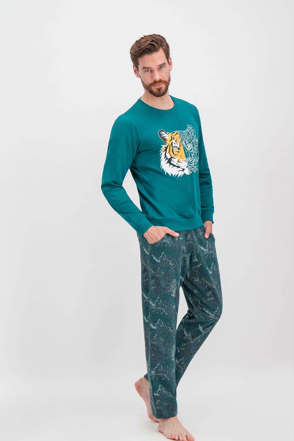 Arnetta Tiger Face Koyu Yeşil Baba Oğul Eşofman Takımı (1)