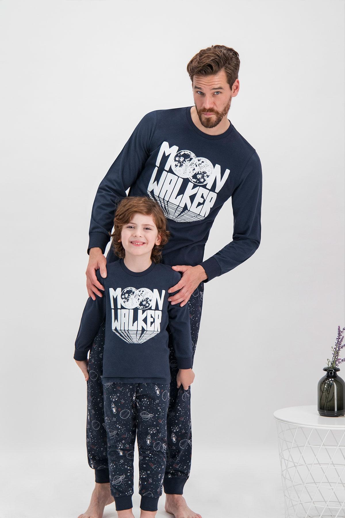 Arnetta Moon Walker Lacivert Baba Oğul Pijama Takımı
