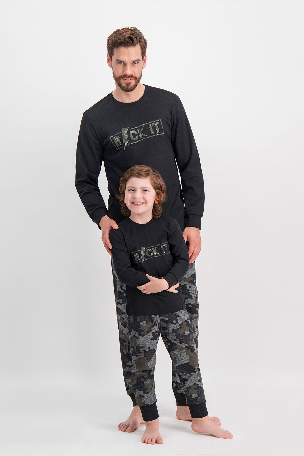 Arnetta Rock It Kamuflaj Siyah Baba Oğul Pijama Takımı