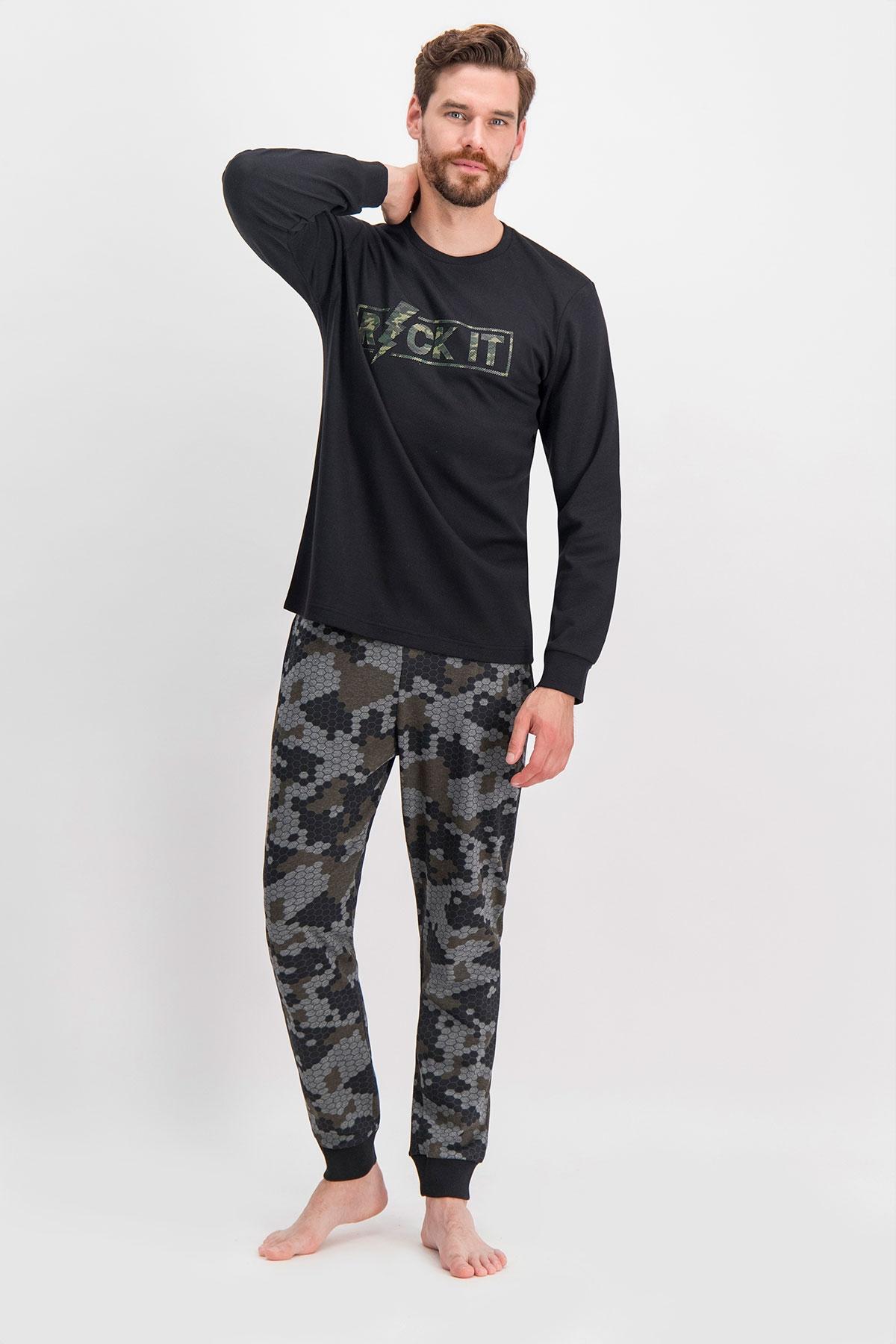 Arnetta Rock It Kamuflaj Siyah Baba Oğul Pijama Takımı (1)