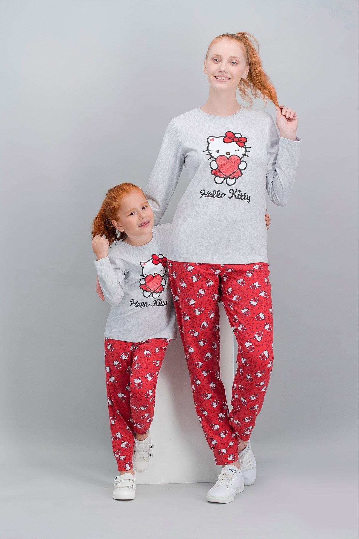 Hello Kitty Lisanslı Karmelanj Anne Kız Pijama Takımı