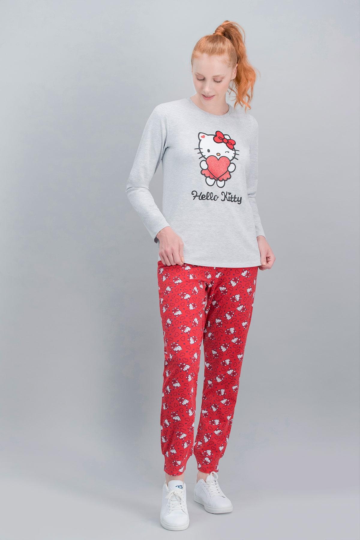 Hello Kitty Lisanslı Karmelanj Anne Kız Pijama Takımı (1)