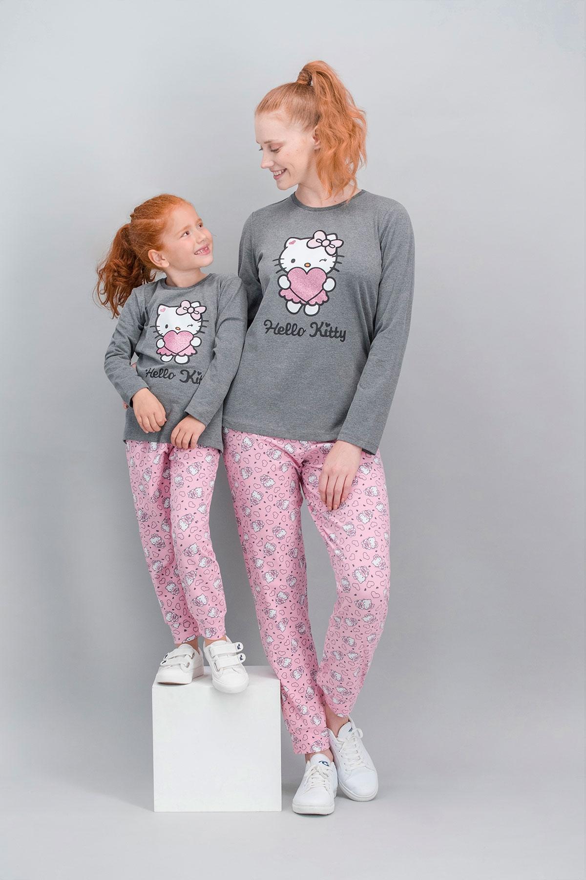 Hello Kitty Lisanslı Koyu Grimelanj Anne Kız Pijama Takımı