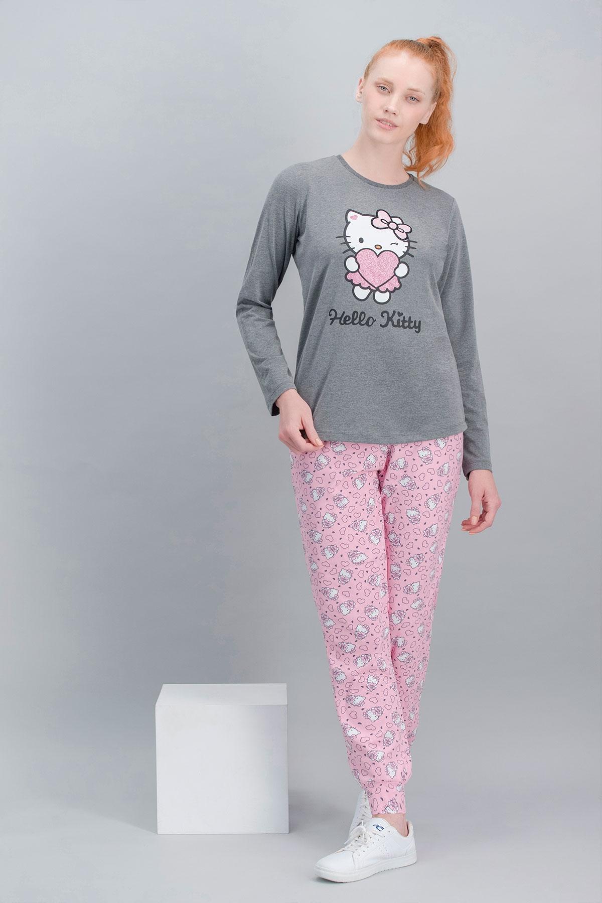 Hello Kitty Lisanslı Koyu Grimelanj Anne Kız Pijama Takımı (1)