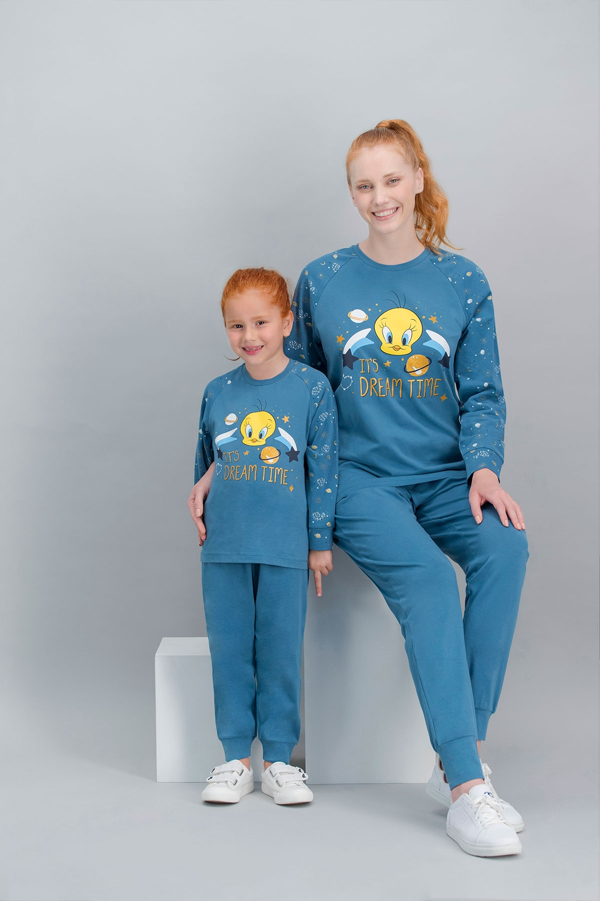 Tweety Lisanslı Petrol Anne Kız Pijama Takımı