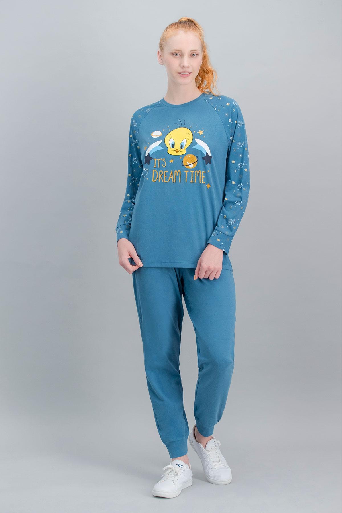 Tweety Lisanslı Petrol Anne Kız Pijama Takımı (1)