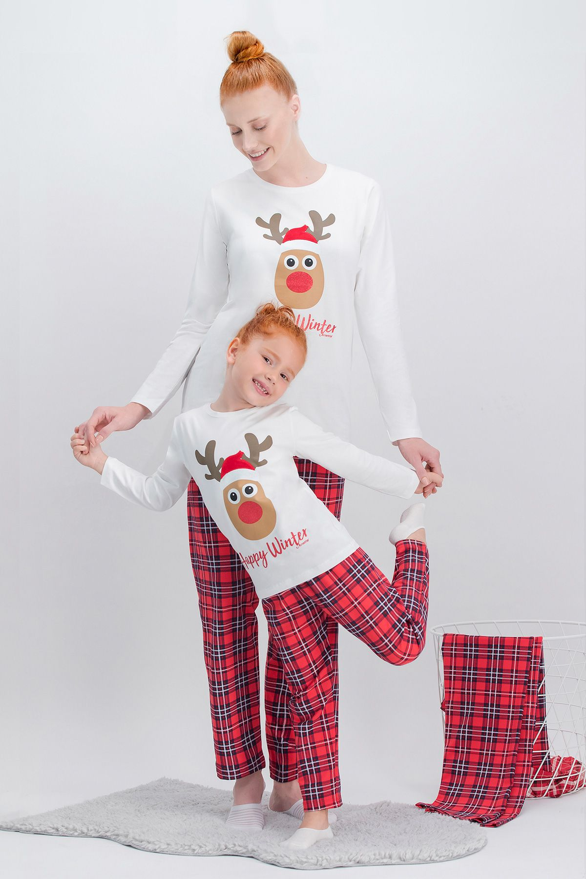 Arnetta La La Happy Winter Ekose Krem Geyikli Anne Kız Pijama Takımı