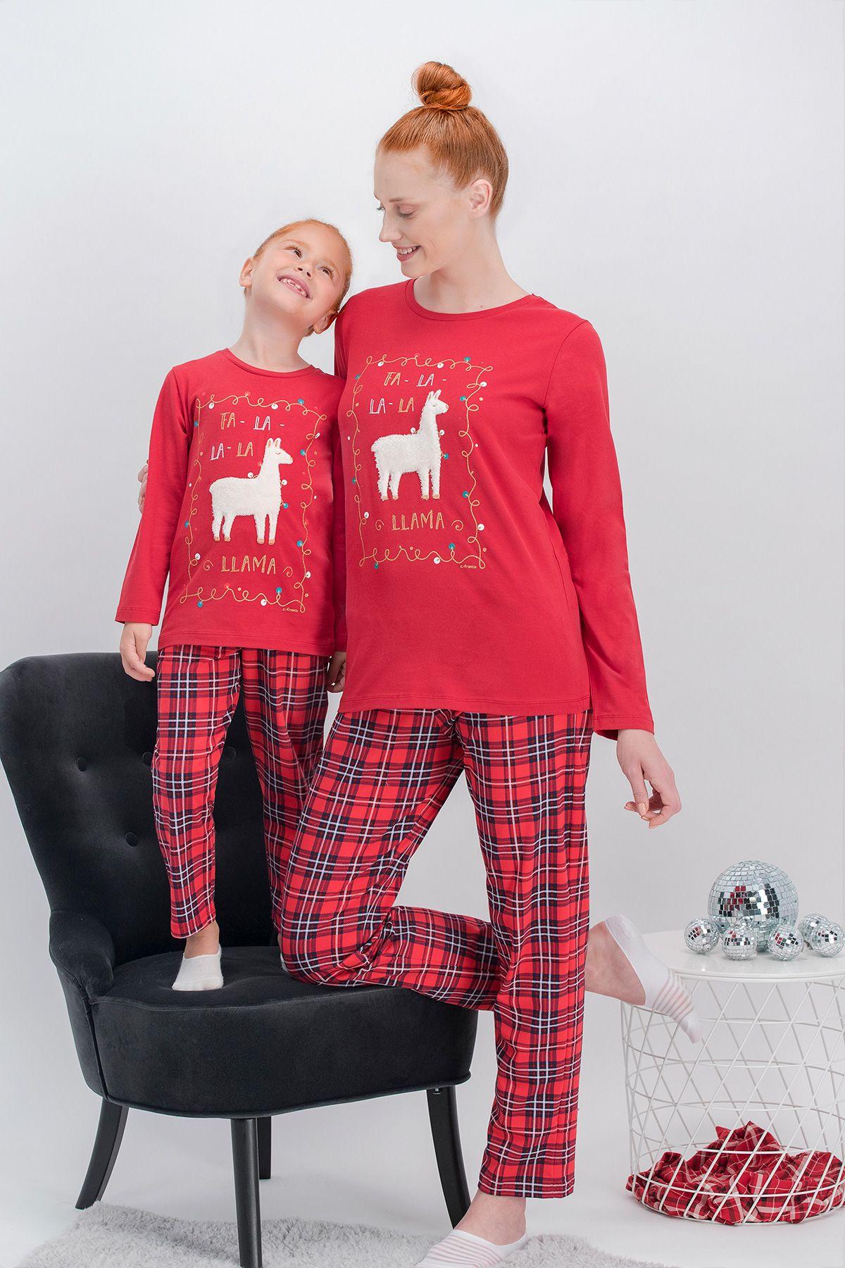 Arnetta La La Lama Ekose Kırmızı Anne Kız Pijama Takımı