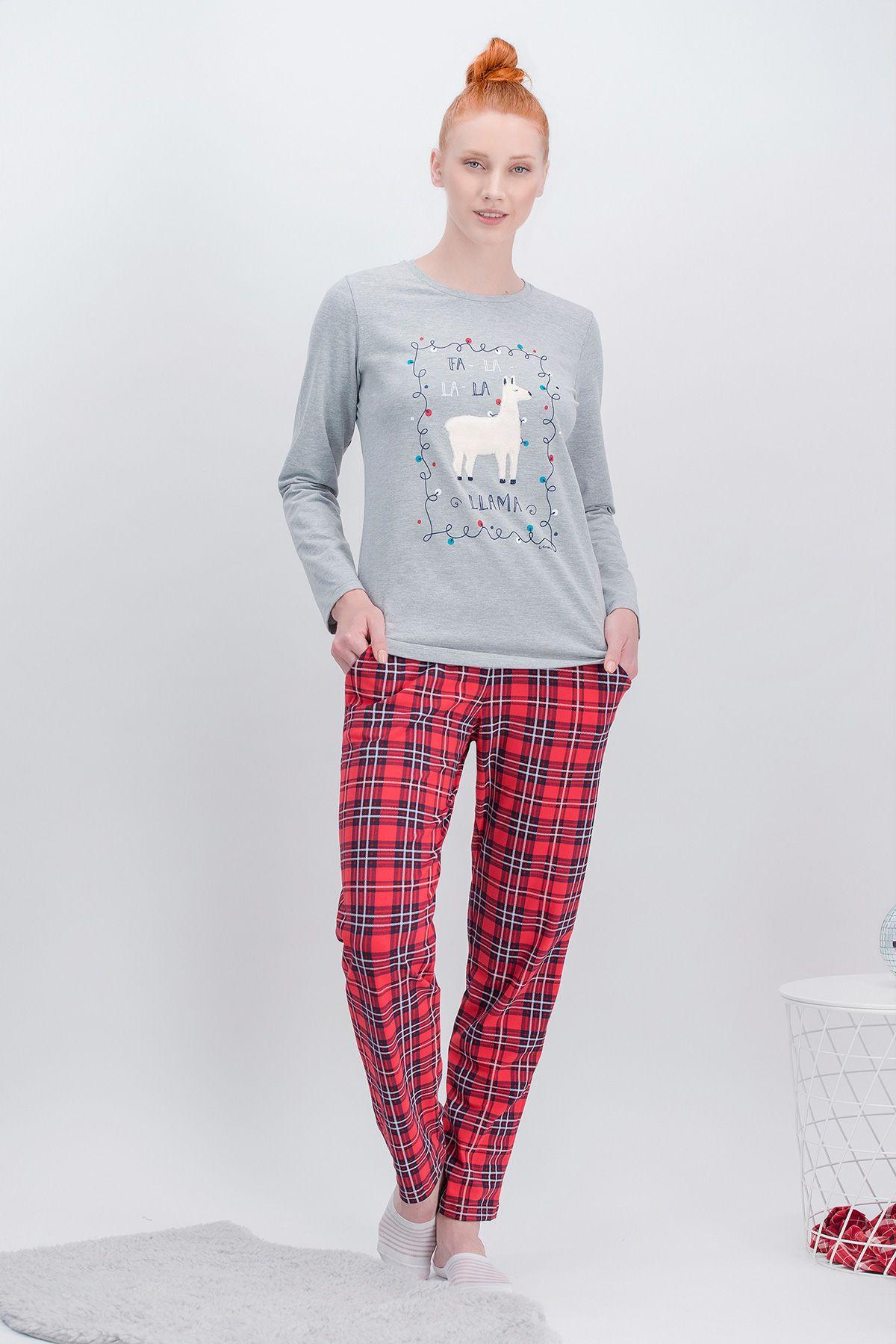 Arnetta La La Lama Ekose Grimelanj Anne Kız Pijama Takımı (1)