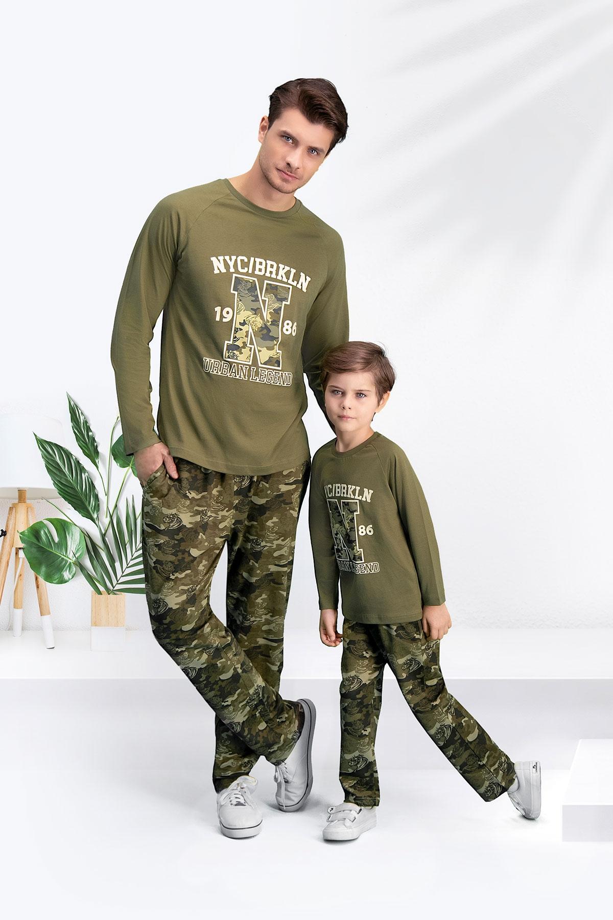 Arnetta Camouflage 1986 Haki Baba Oğul Pijama Takımı