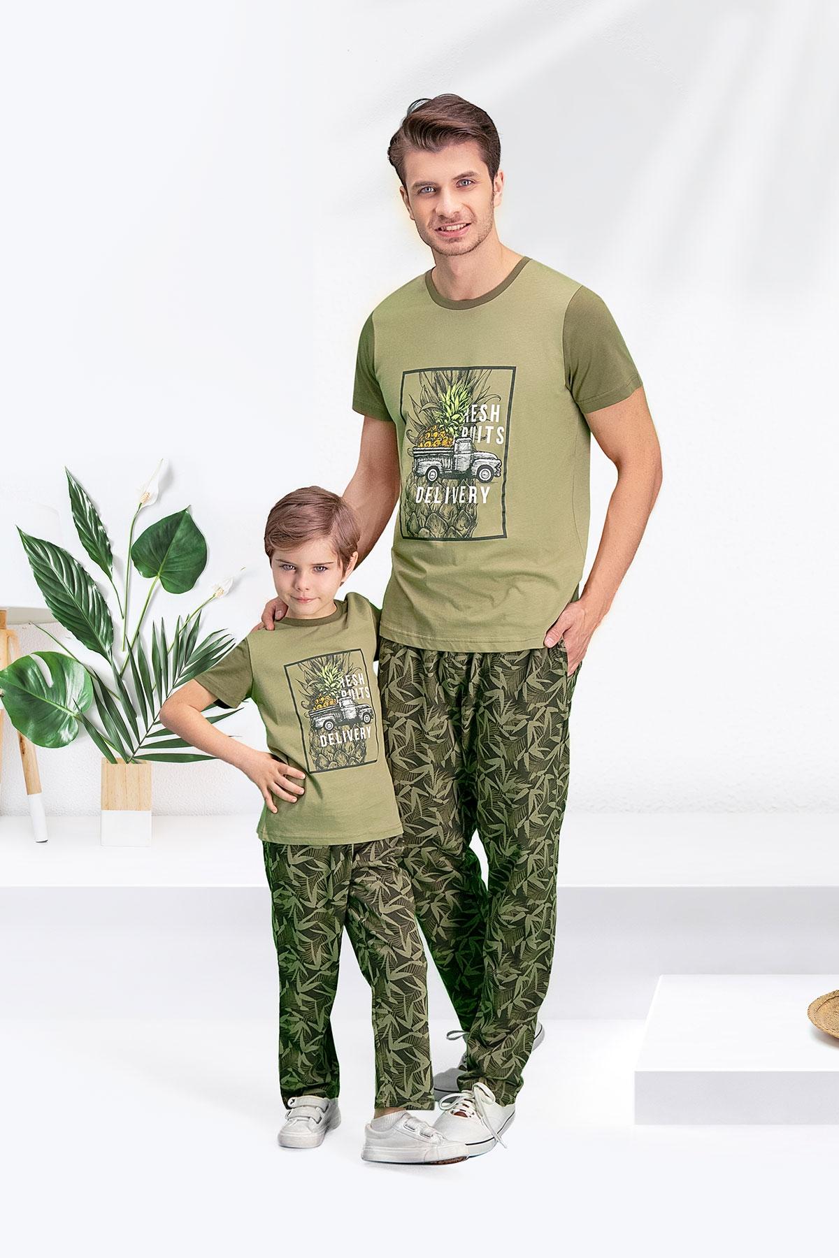Arnetta Bambu Haki Baba Oğul Pijama Takımı