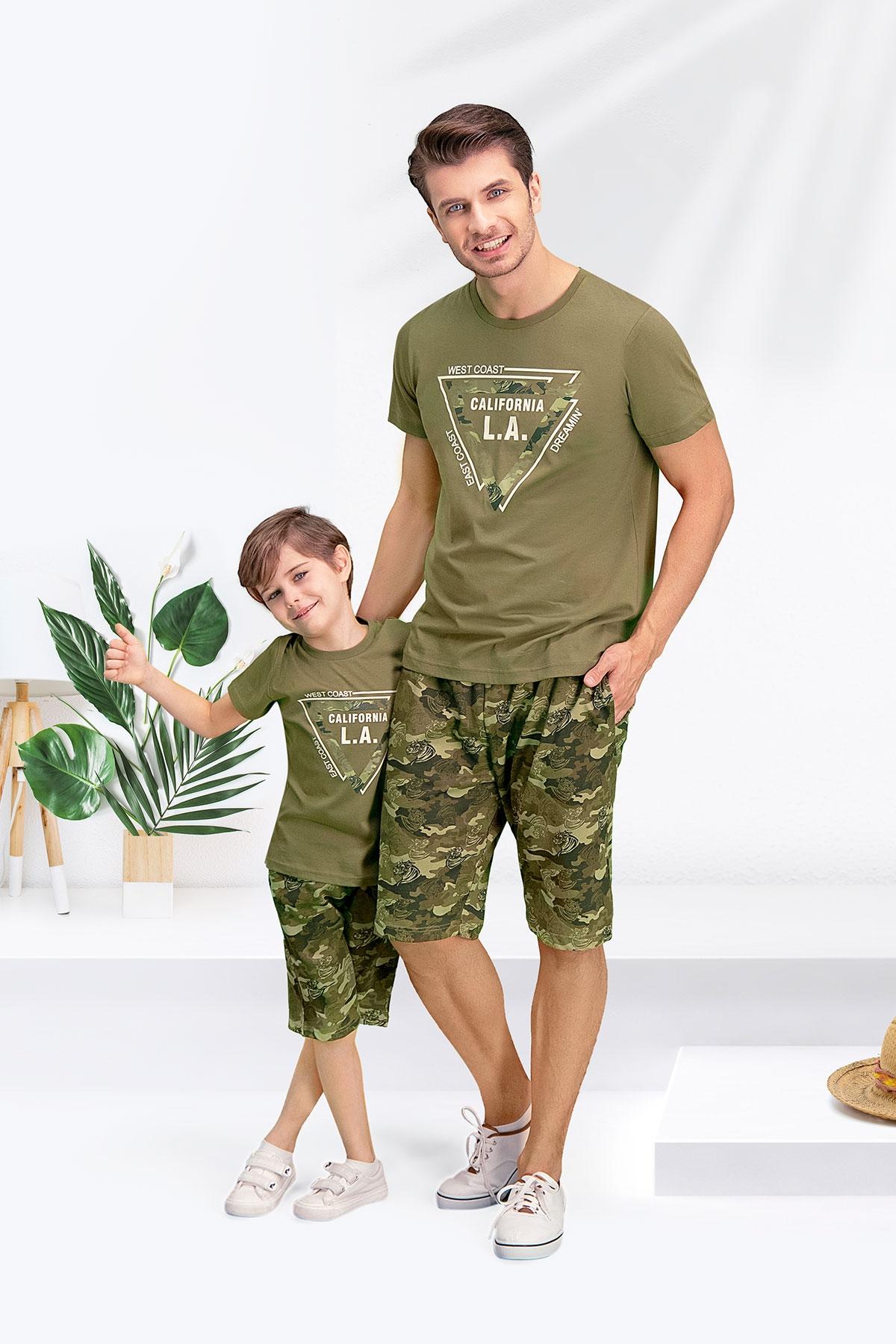 Arnetta Camouflage L.A. Haki Baba Oğul Bermuda Takım