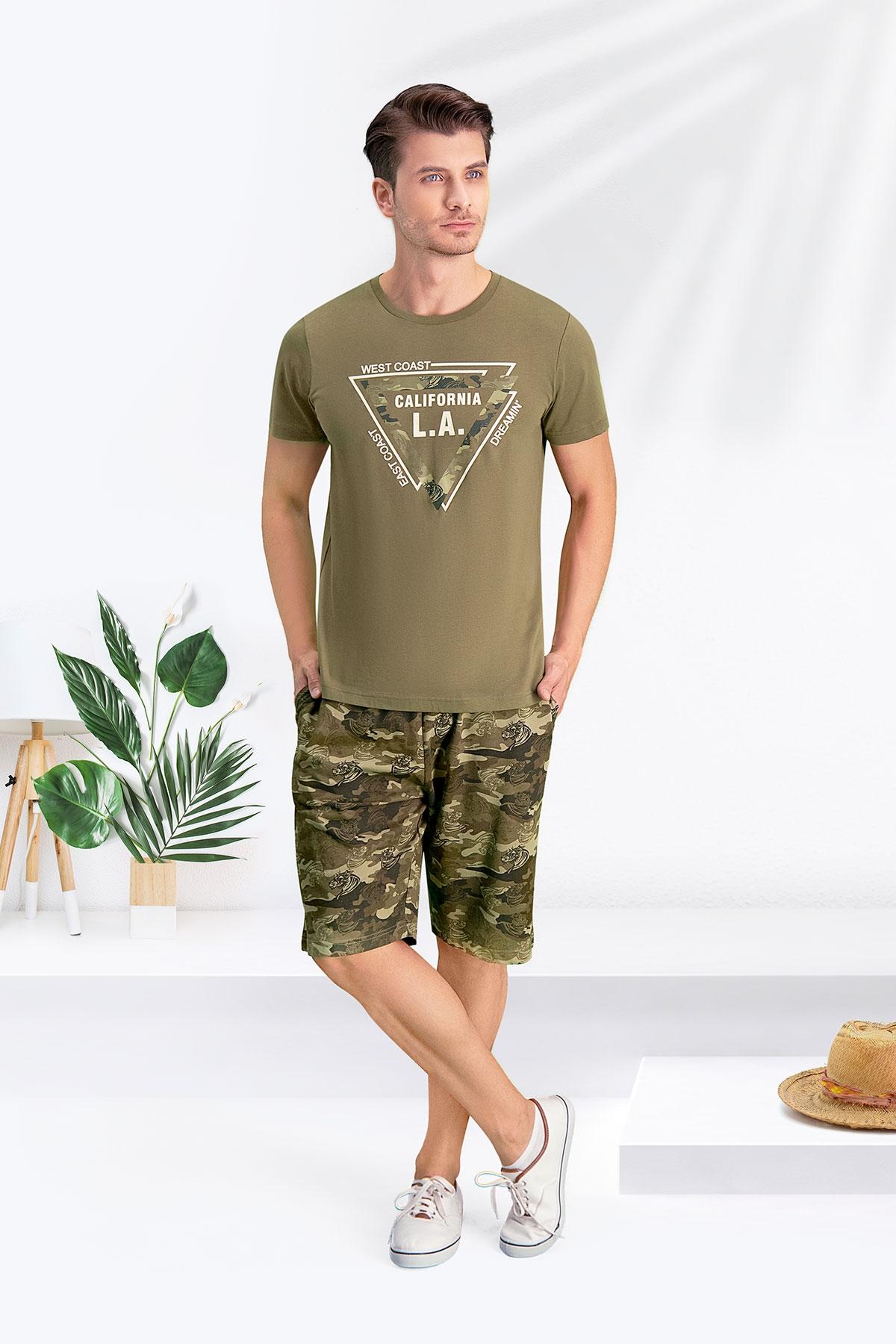 Arnetta Camouflage L.A. Haki Baba Oğul Bermuda Takım (1)