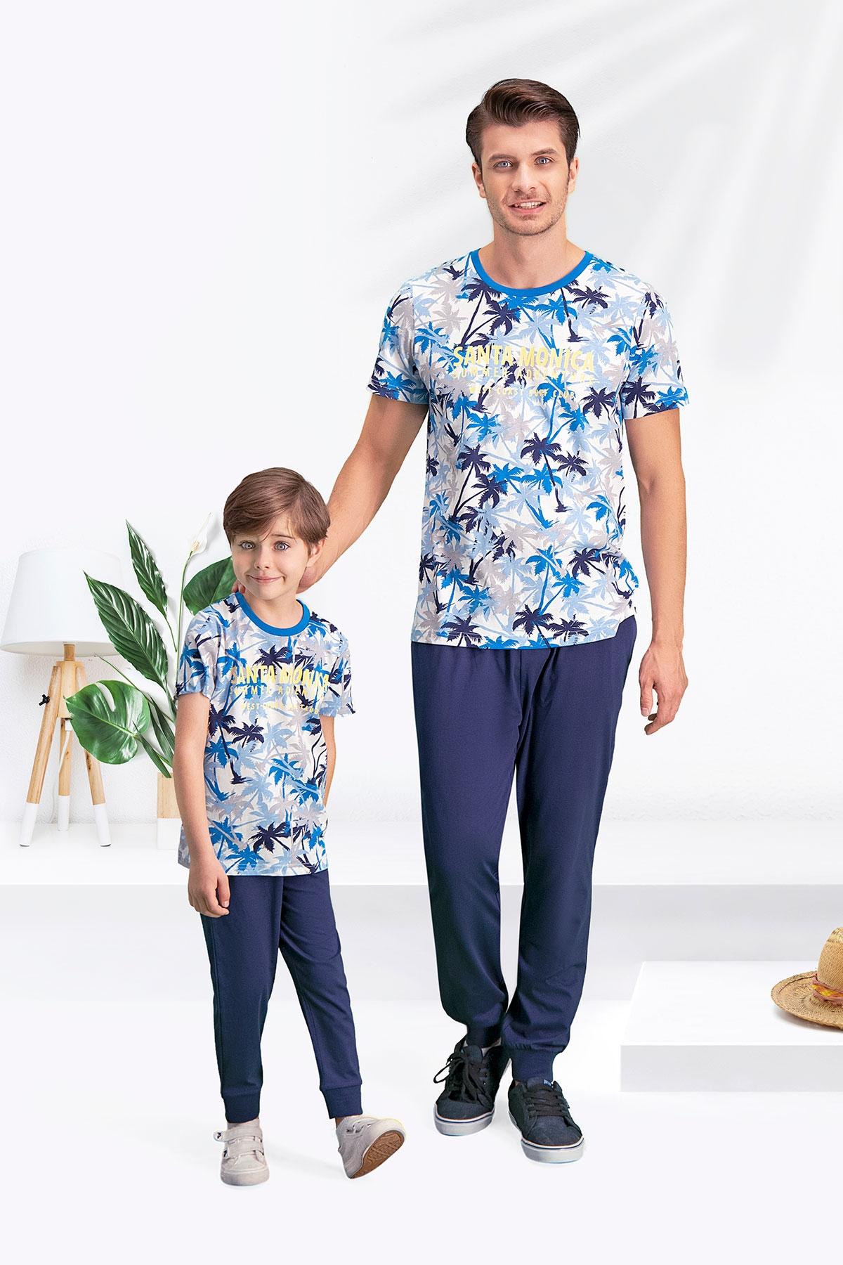 Arnetta Santa Monica Krem-Mavi Baba Oğul Pijama Takımı
