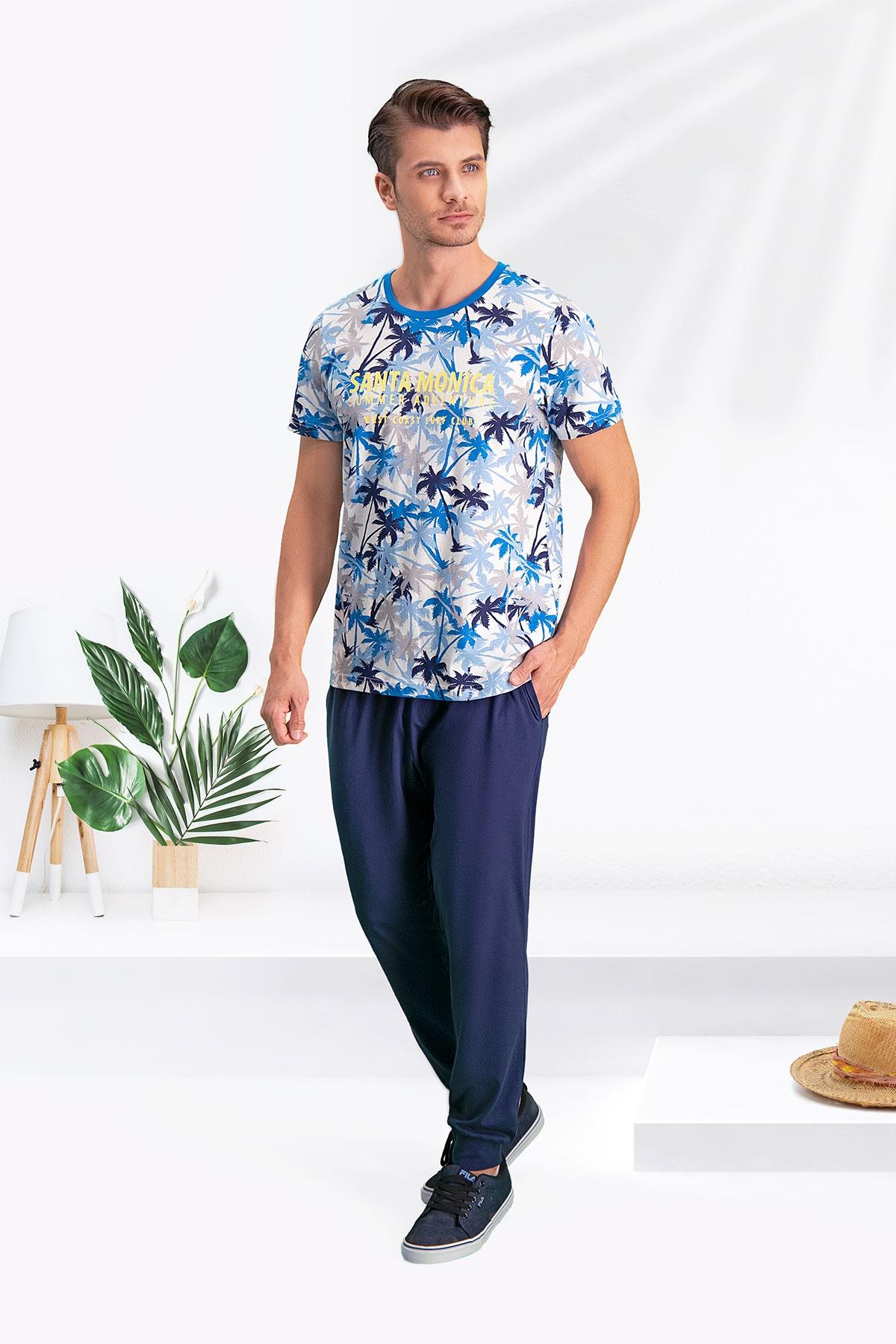 Arnetta Santa Monica Krem-Mavi Baba Oğul Pijama Takımı (1)