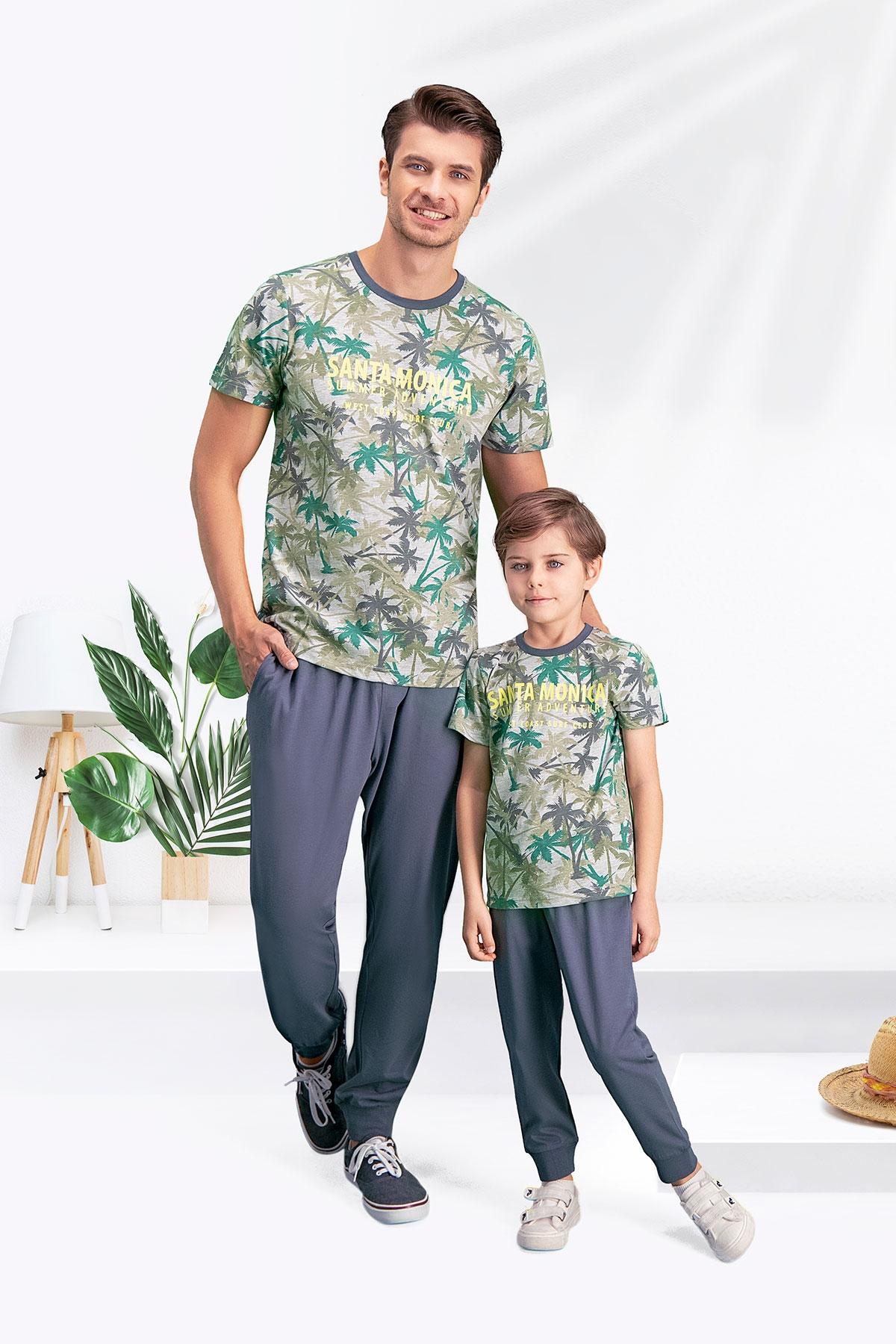 Arnetta Santa Monica Gri-Yeşil Baba Oğul Pijama Takımı