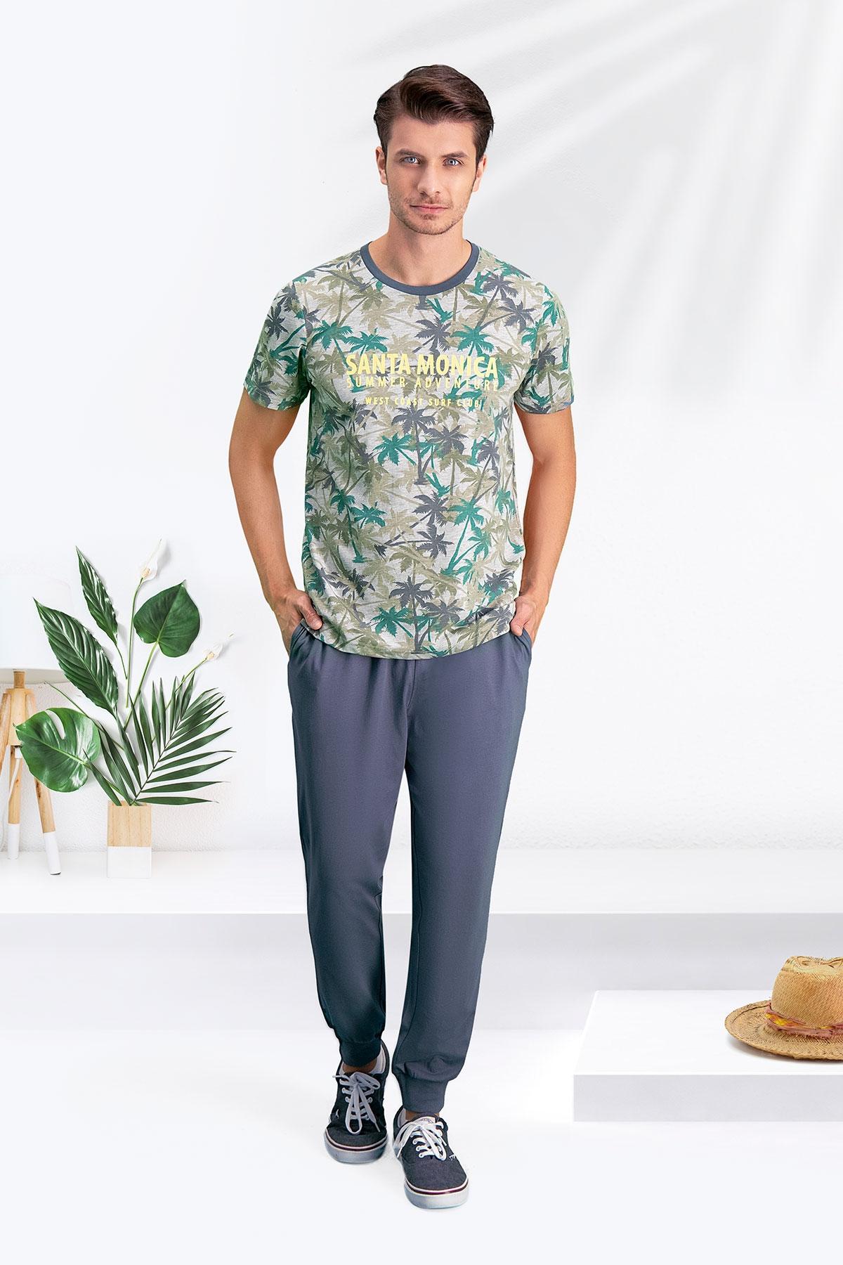 Arnetta Santa Monica Gri-Yeşil Baba Oğul Pijama Takımı (1)
