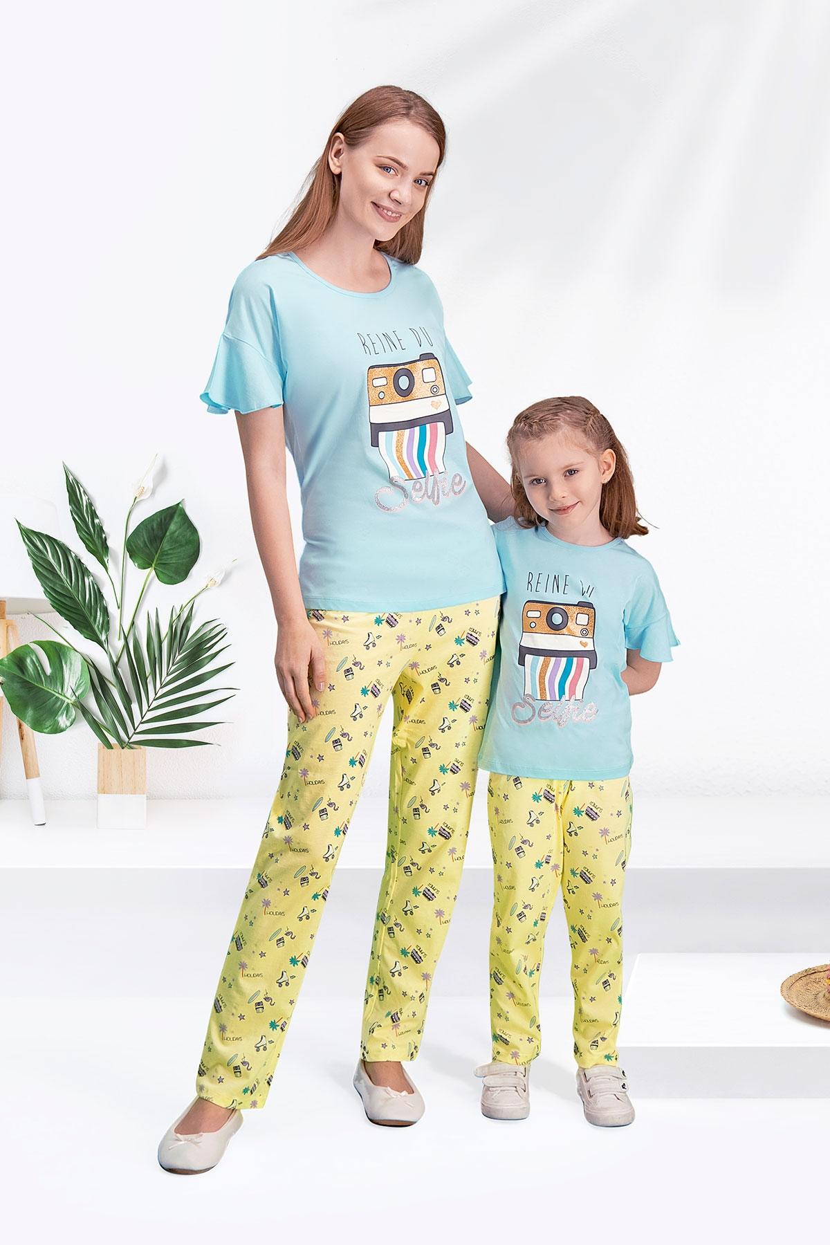 Arnetta Selfie Mavi Anne Kız Pijama Takımı