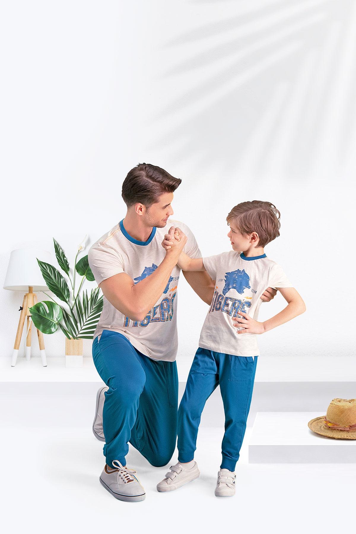 Arnetta Tiger's Kum Beji Baba Oğul Pijama Takımı