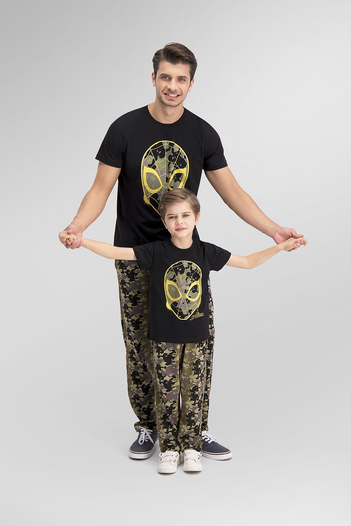 Spider Man Lisanslı Siyah Baba Oğul Pijama Takımı